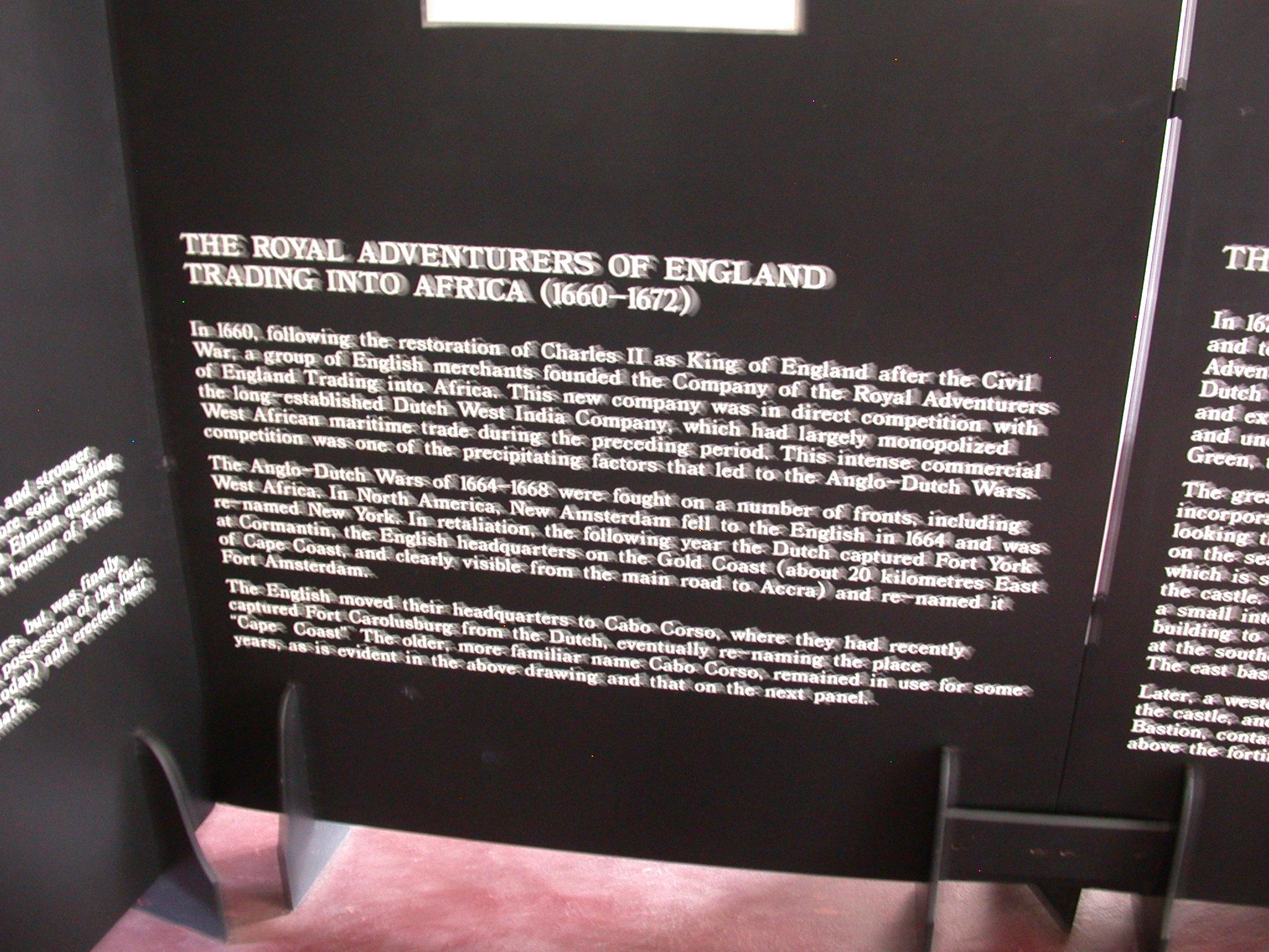 Description of England Trading in Africa, Cape Coast Slave Fort Museum, Cape Coast, Ghana