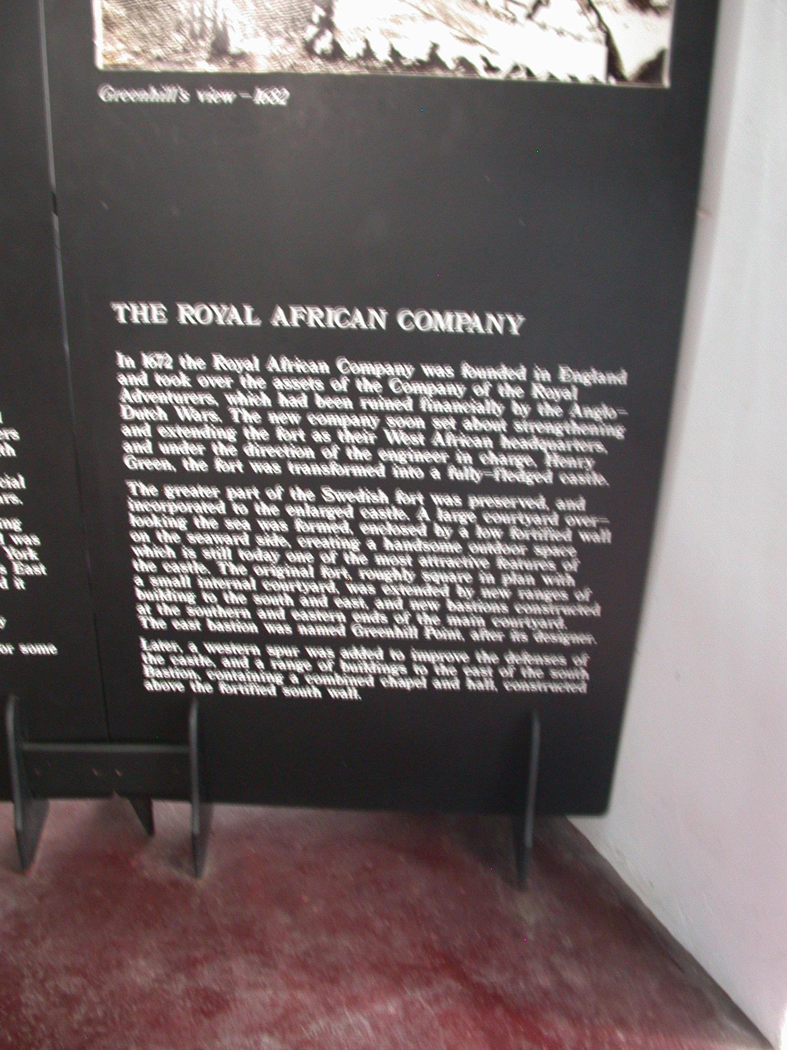 Description of the Royal African Company, Cape Coast Slave Fort Museum, Cape Coast, Ghana