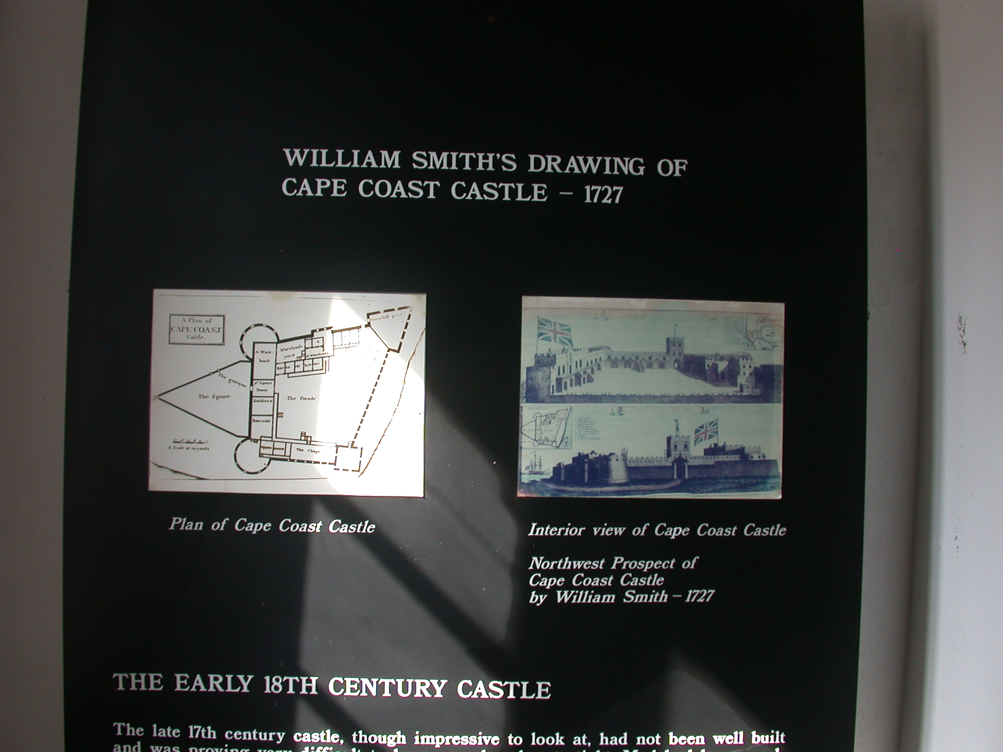 Engravings of Cape Coast Castle, Cape Coast Slave Fort Museum, Cape Coast, Ghana