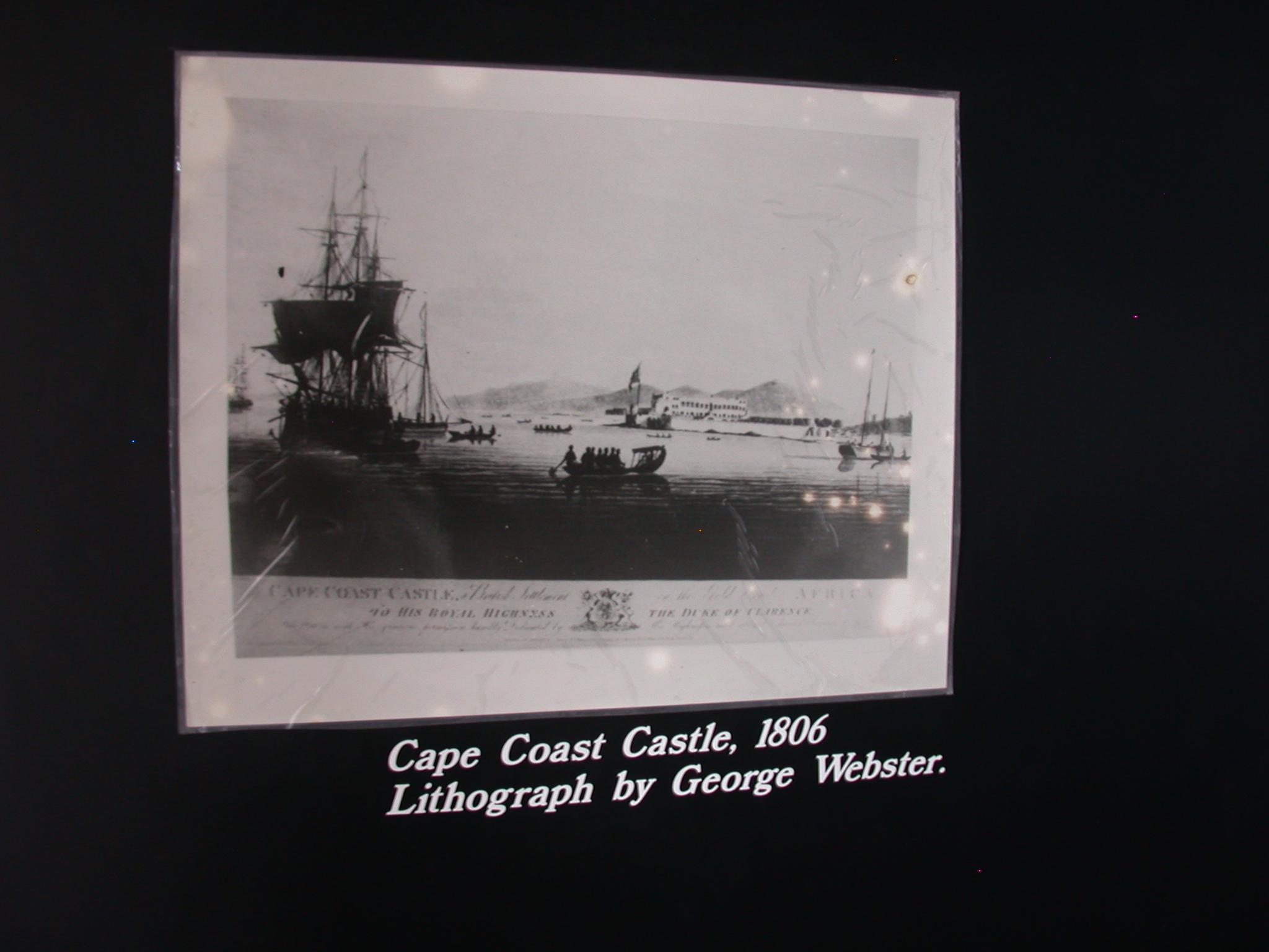 Lithograph of Cape Coast Castle, Cape Coast Slave Fort Museum, Cape Coast, Ghana