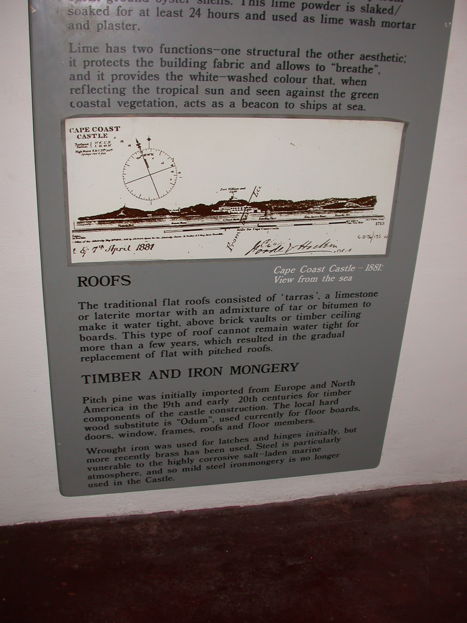 Construction Materials Description, Cape Coast Slave Fort Museum, Cape Coast, Ghana