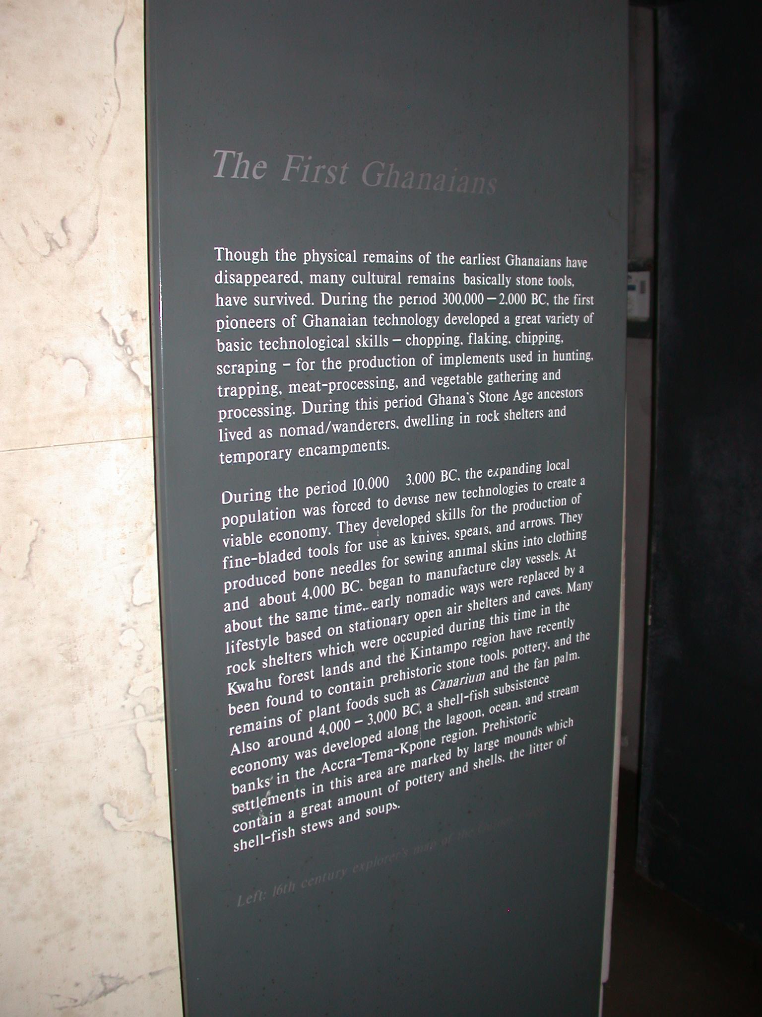 The First Ghanaians Description, Cape Coast Slave Fort Museum, Cape Coast, Ghana
