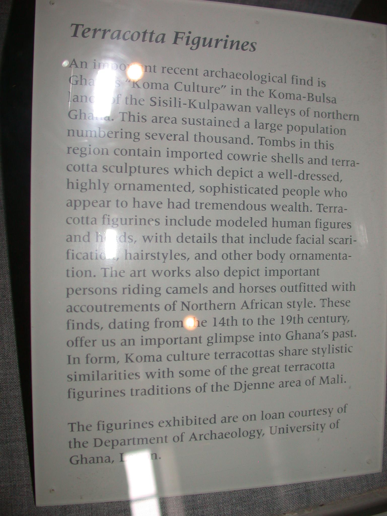 Komaland Koma-Bulsa Figurines Description, Cape Coast Slave Fort Museum, Cape Coast, Ghana