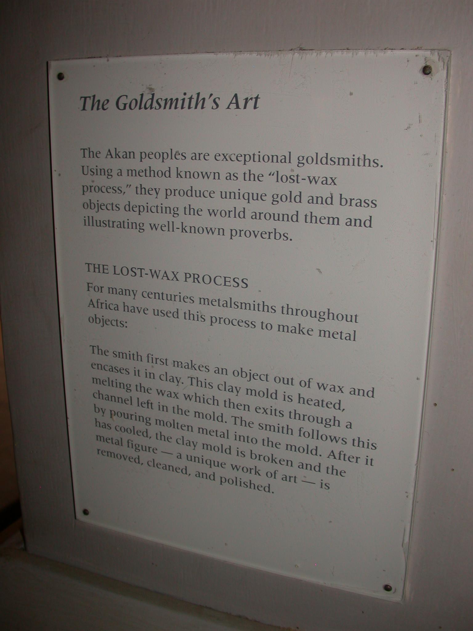 Ghana Gold Lost-Wax Process Description, Cape Coast Slave Fort Museum, Cape Coast, Ghana