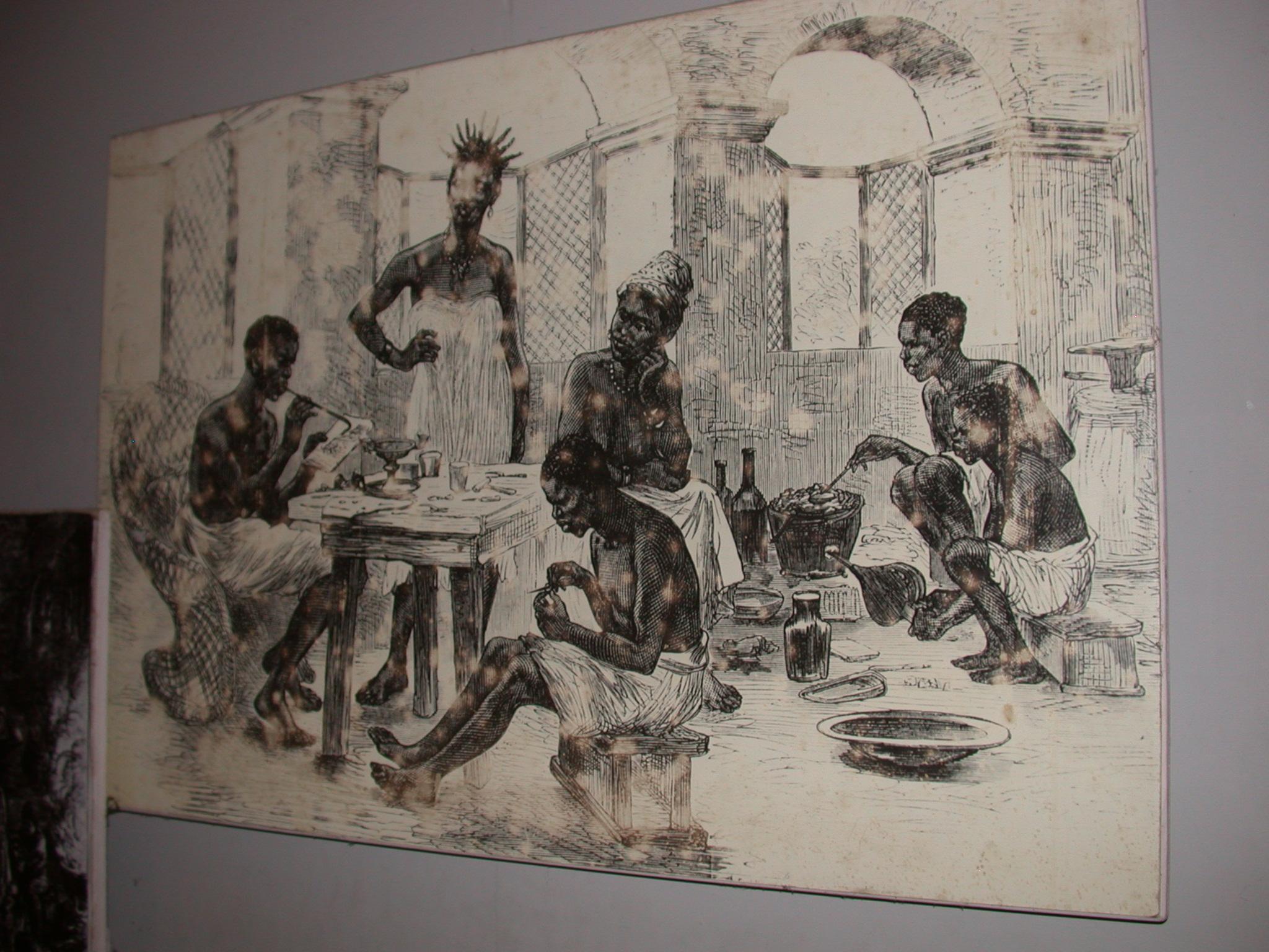 Ghana Gold Forging Drawing, Cape Coast Slave Fort Museum, Cape Coast, Ghana