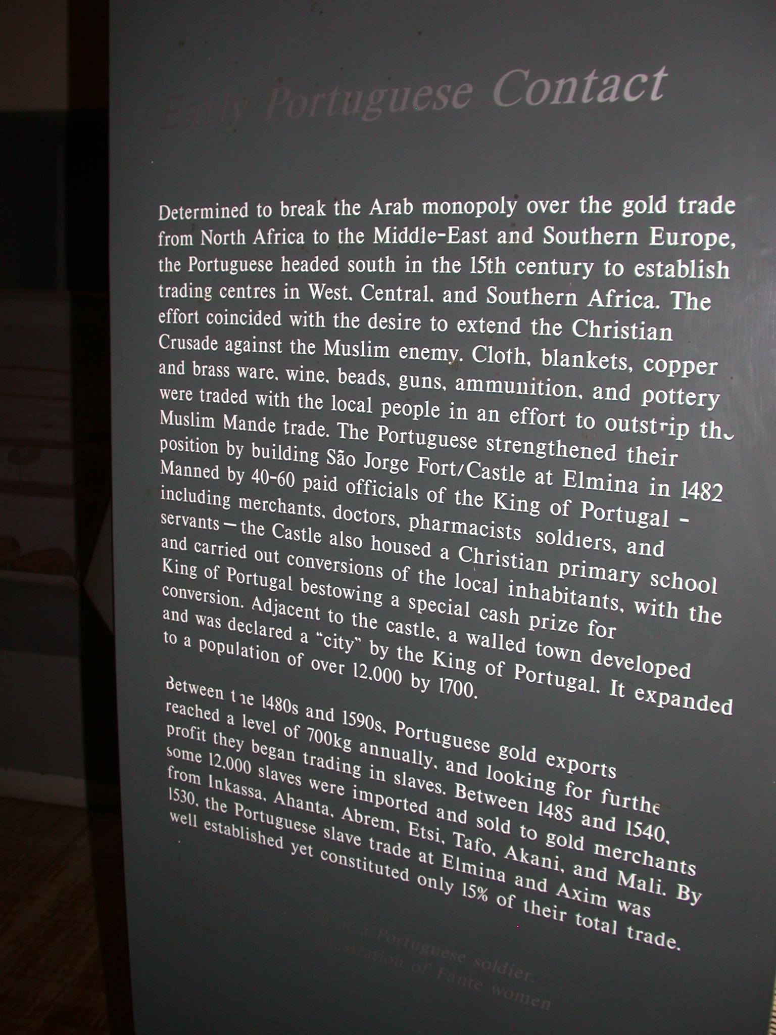 Portuguese in Ghana History Description, Cape Coast Slave Fort Museum, Cape Coast, Ghana
