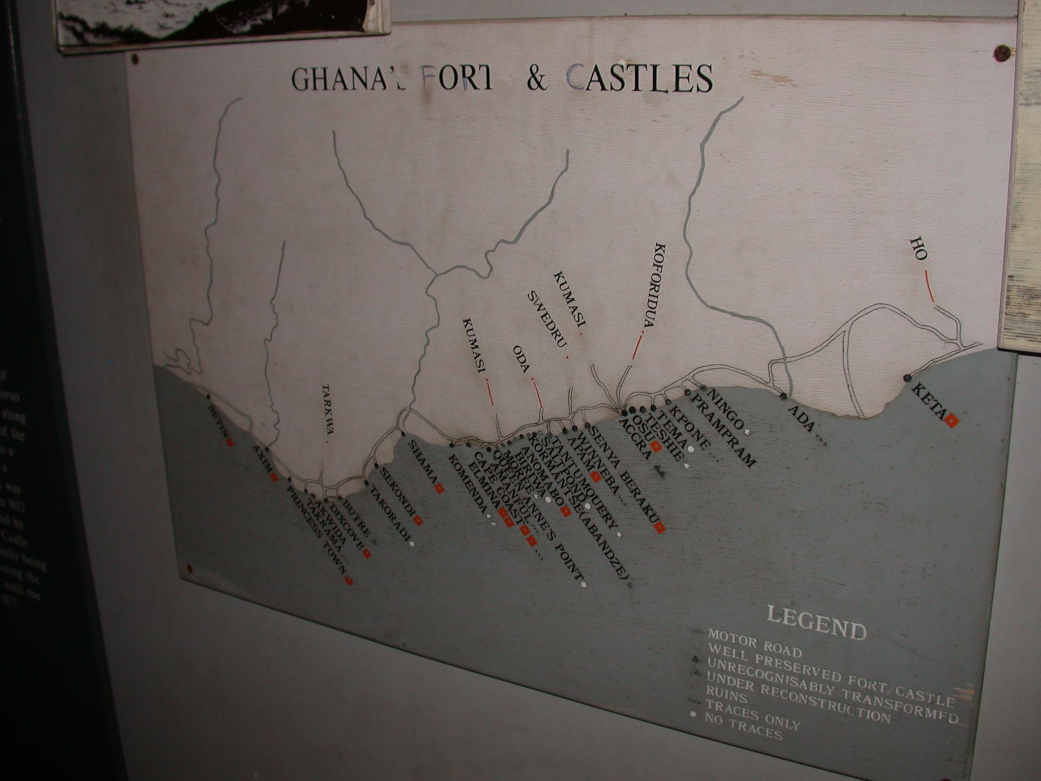 Ghana Forts and Castles Map, Cape Coast Slave Fort Museum, Cape Coast, Ghana
