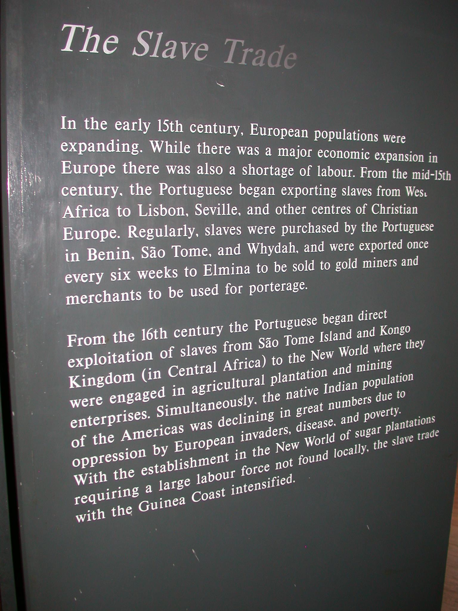Ghana Slave Trade Description, Cape Coast Slave Fort Museum, Cape Coast, Ghana