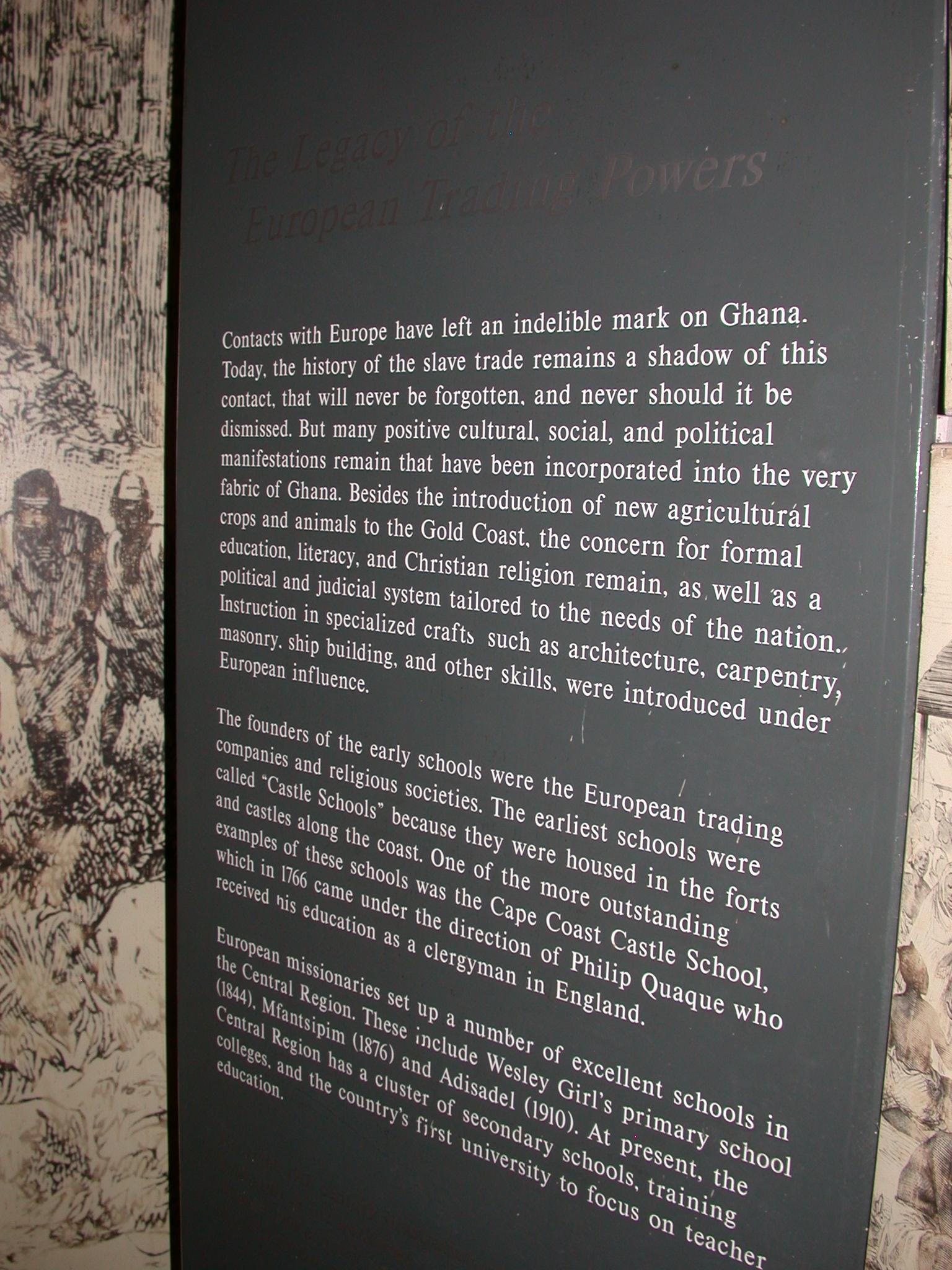 Europeans in Ghana Legacy Description, Cape Coast Slave Fort Museum, Cape Coast, Ghana