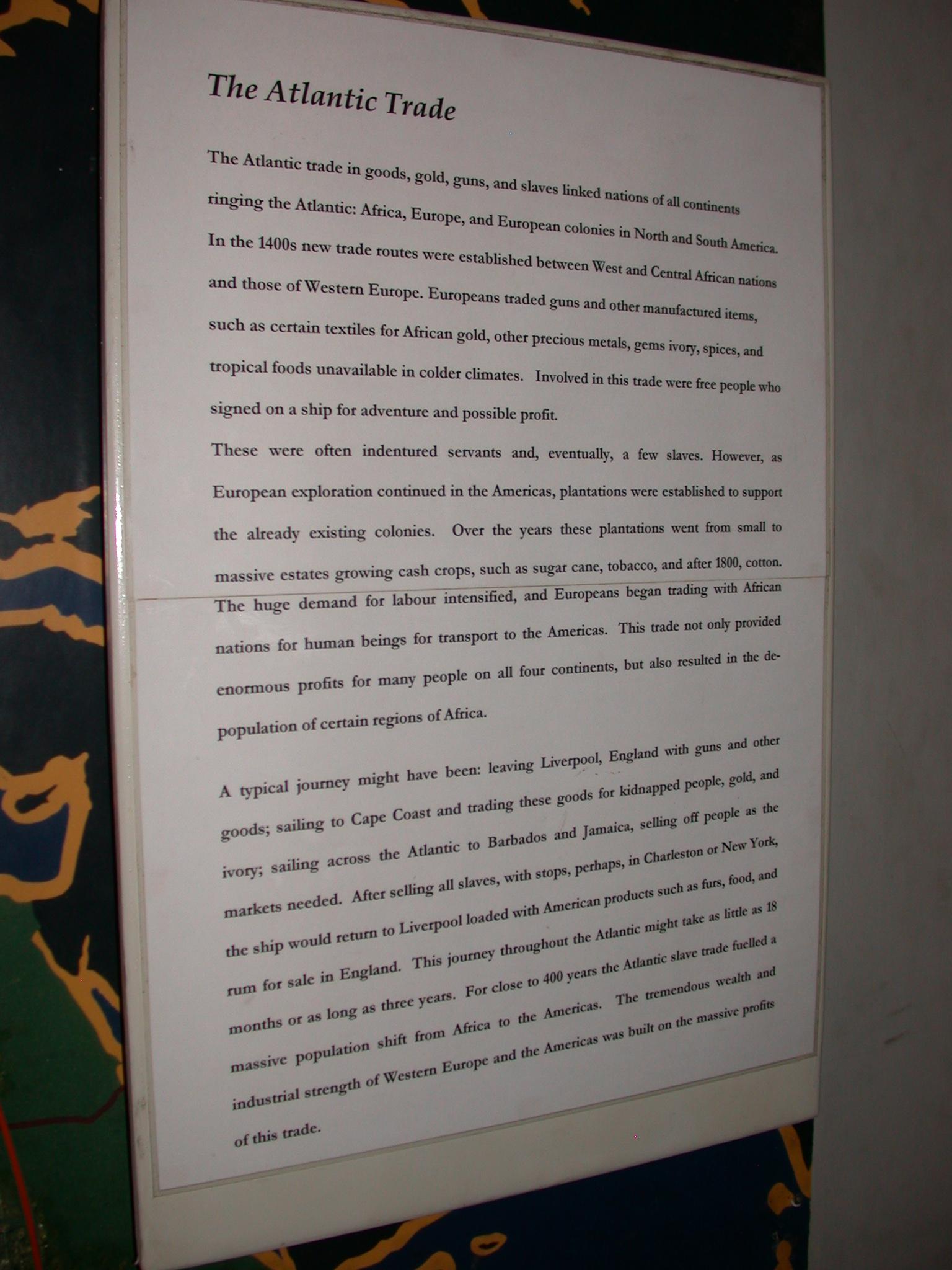 Atlantic Trade Description, Cape Coast Slave Fort Museum, Cape Coast, Ghana