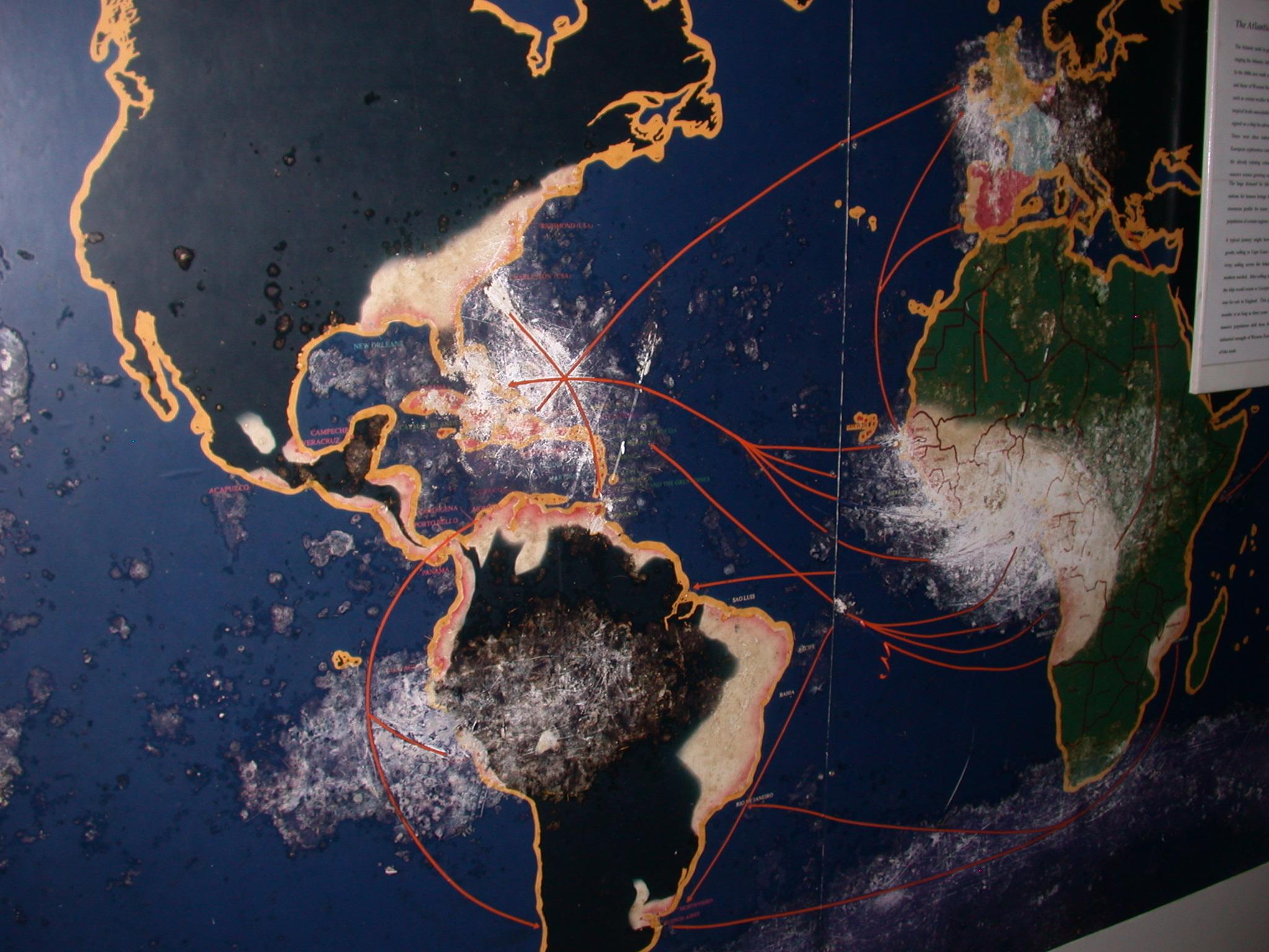 Atlantic Trade Map, Cape Coast Slave Fort Museum, Cape Coast, Ghana