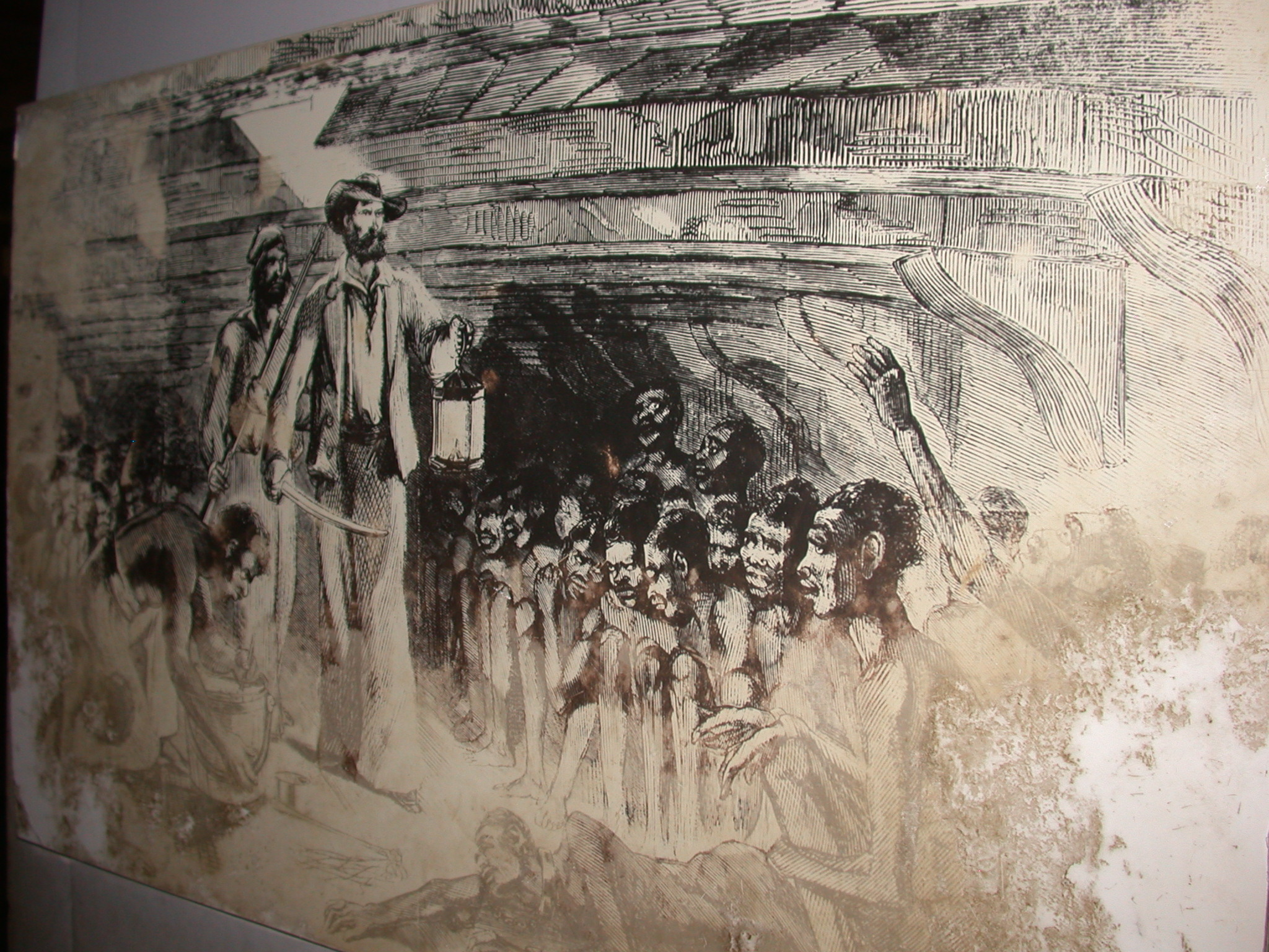 Drawing of Middle Passage of Slaves in Boat, Cape Coast Slave Fort Museum, Cape Coast, Ghana