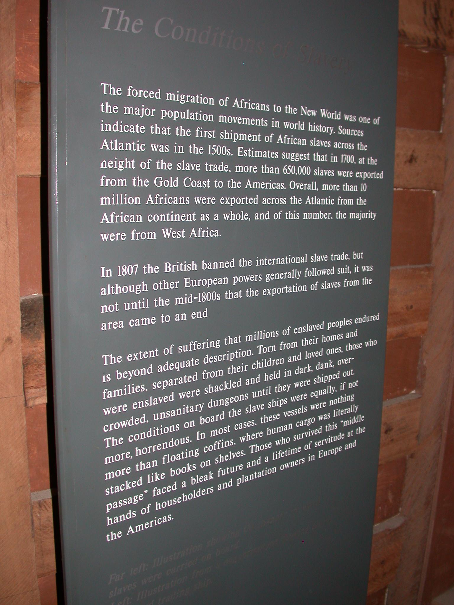 Conditions of Slavery Description, Cape Coast Slave Fort Museum, Cape Coast, Ghana