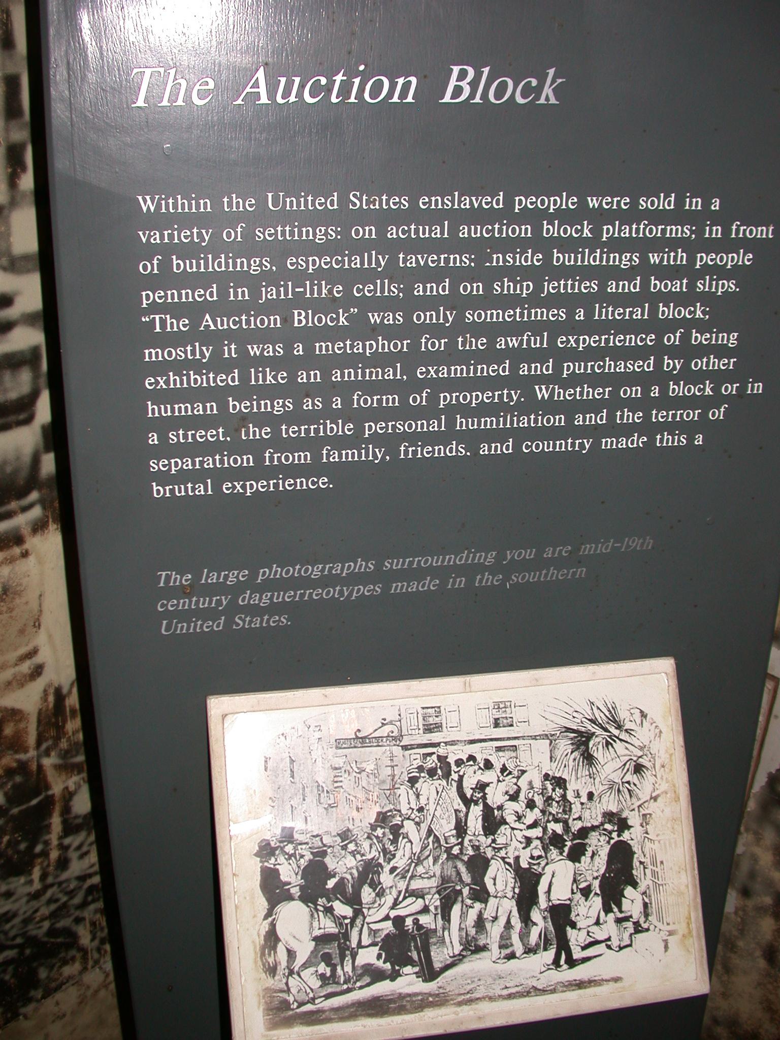 Slave Auction Block Description and Drawing, Cape Coast Slave Fort Museum, Cape Coast, Ghana