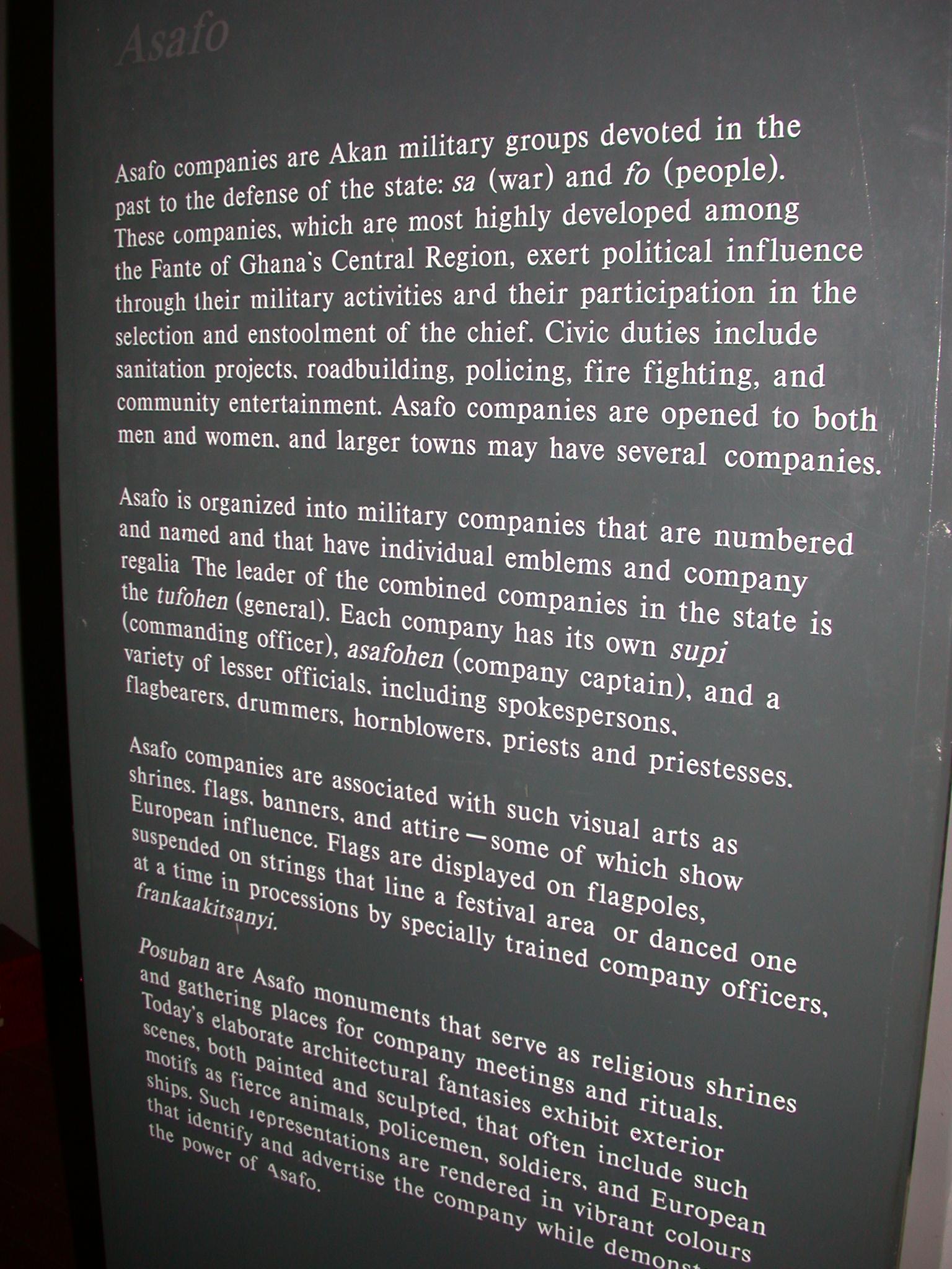 Akan Asafo Military Company Description, Cape Coast Slave Fort Museum, Cape Coast, Ghana
