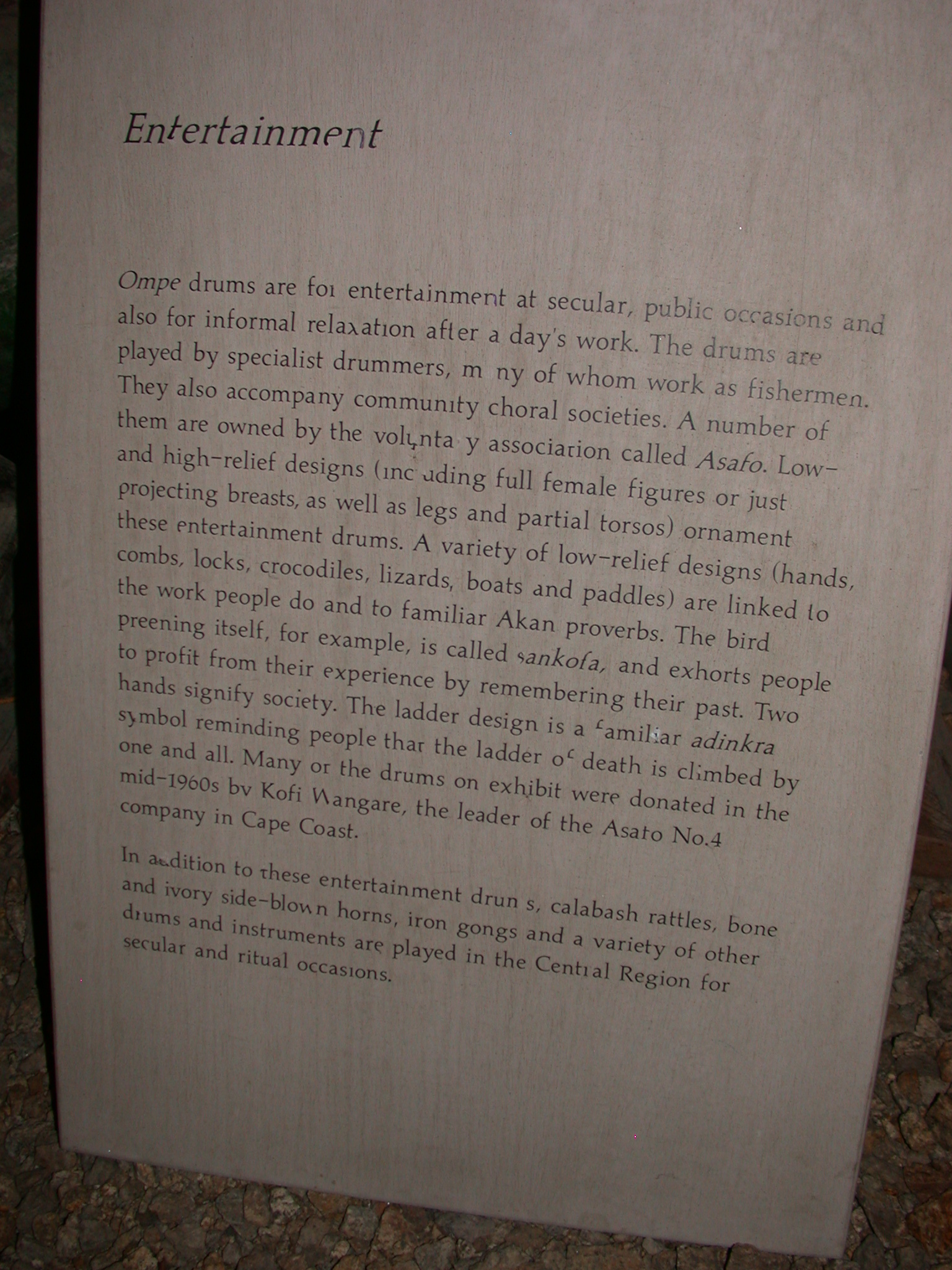 Akan Entertainment Description, Cape Coast Slave Fort Museum, Cape Coast, Ghana