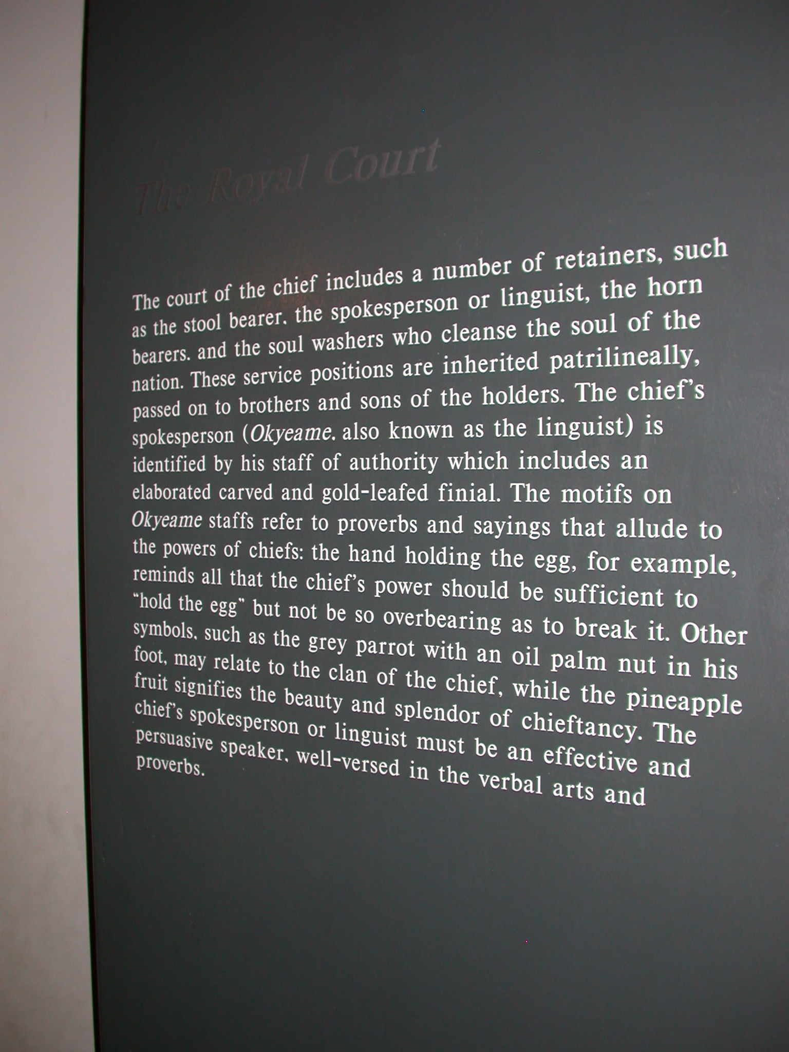 Akan Royal Court Description, Cape Coast Slave Fort Museum, Cape Coast, Ghana