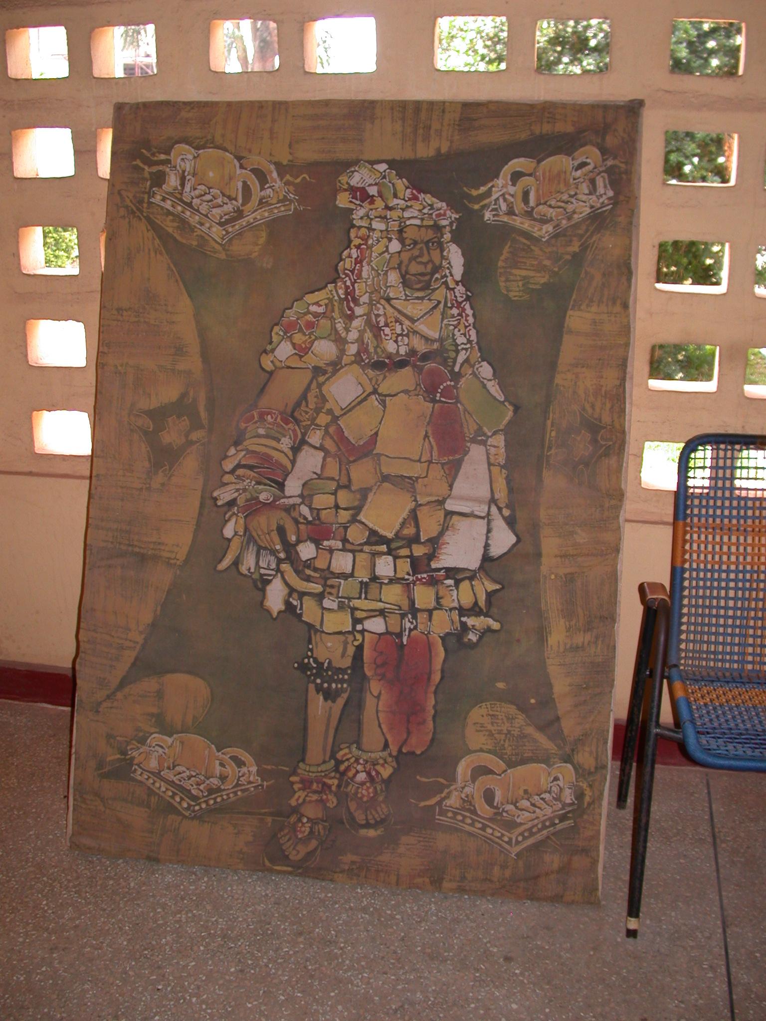 Painting of Asante King Wearing Magical Garb, Okomfo Anokye Sword Site, Kumasi, Ghana