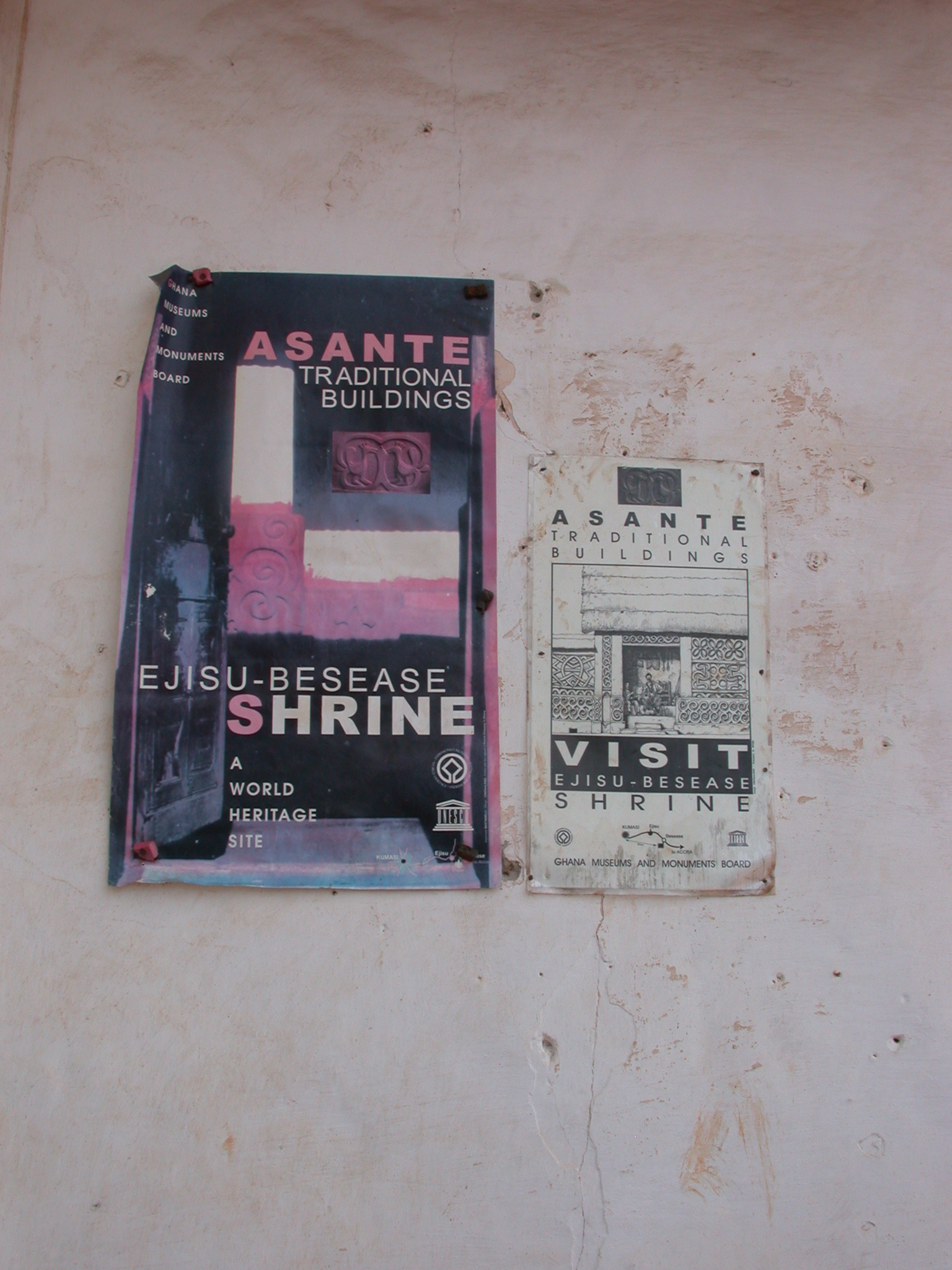 Signs for Asante Traditional Shrine at Ejisu-Besease, Ghana