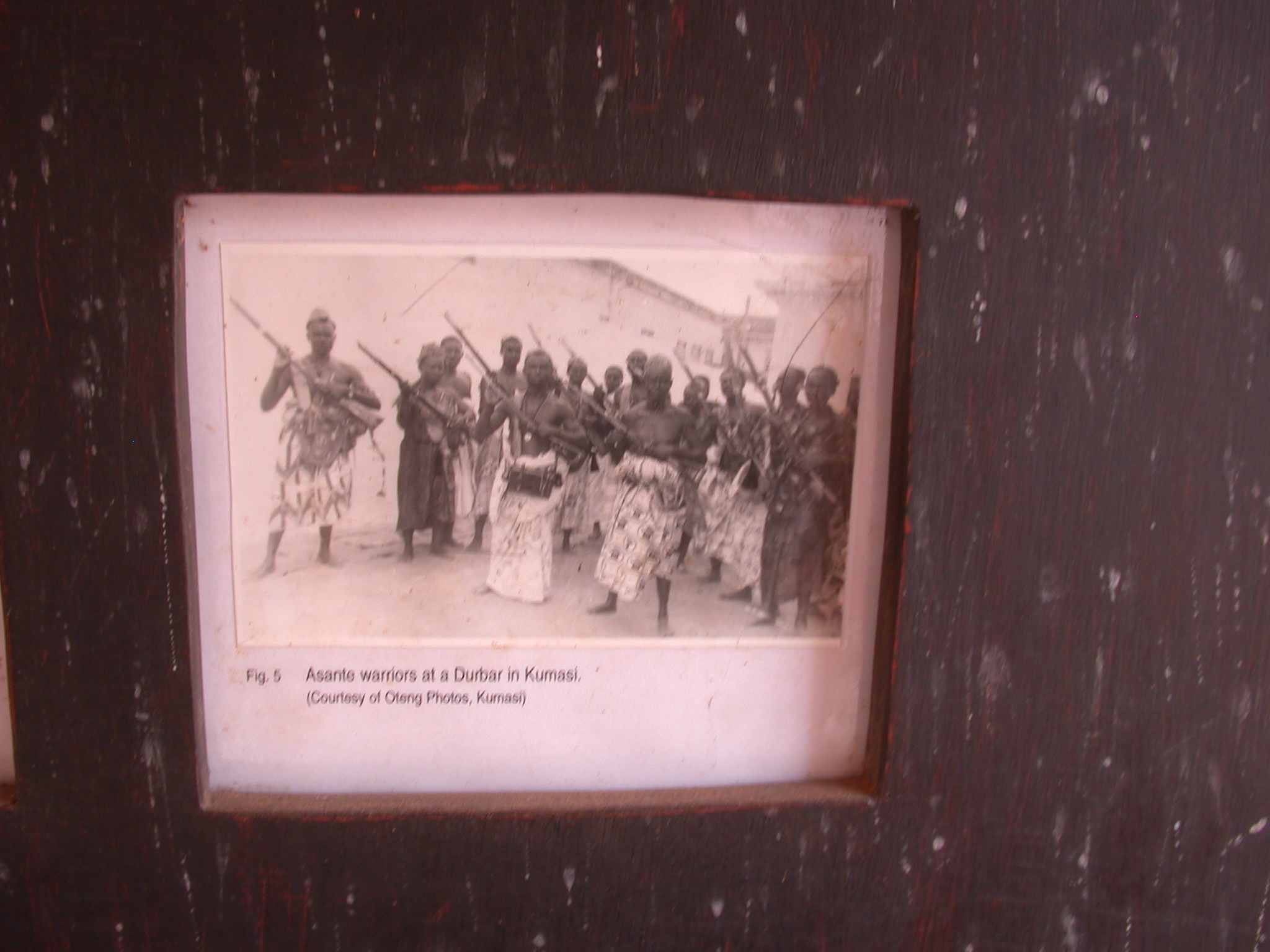 Photograph of Asante Warriors at a Durbar in Kumasi, Asante Traditional Shrine at Ejisu-Besease, Ghana
