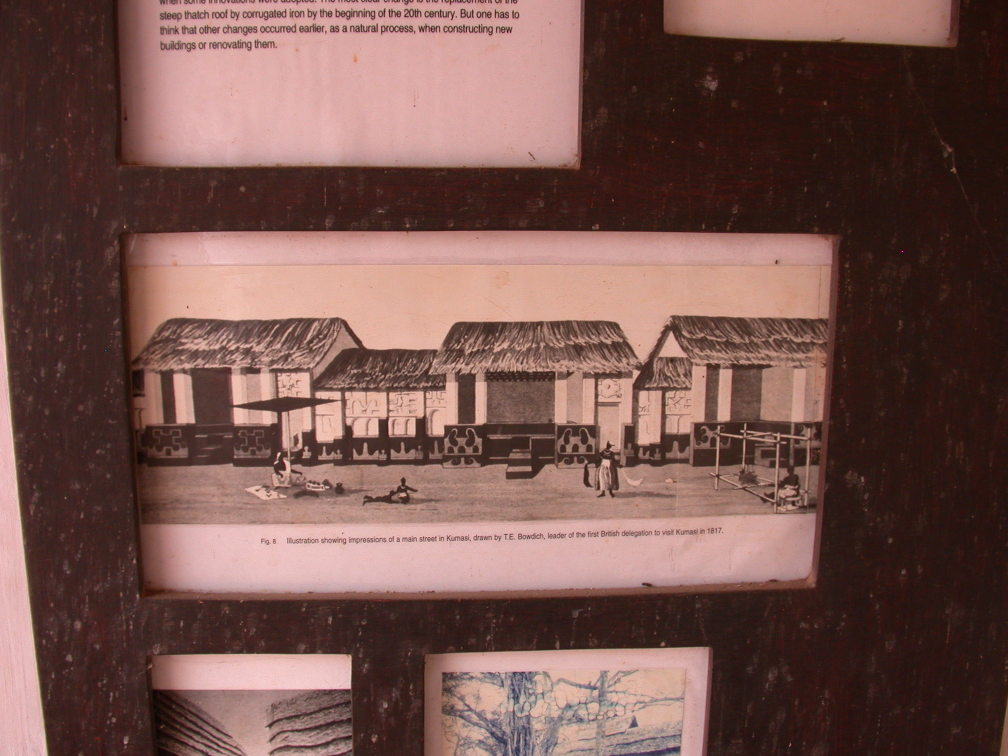 Drawing of Main Street in Kumasi at First British Delegation in 1817, Asante Traditional Shrine at Ejisu-Besease, Ghana