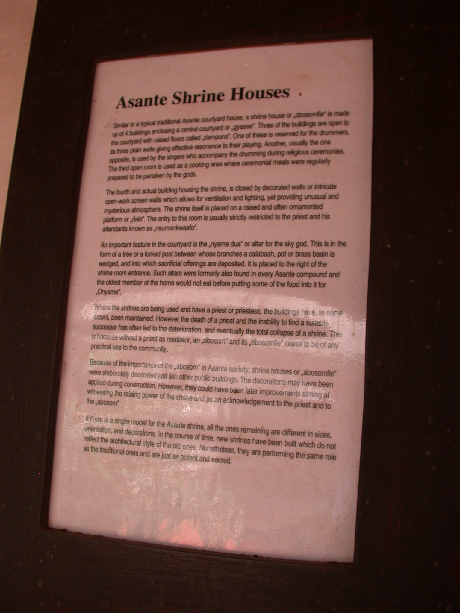 Description of Asante Shine Houses, Asante Traditional Shrine at Ejisu-Besease, Ghana