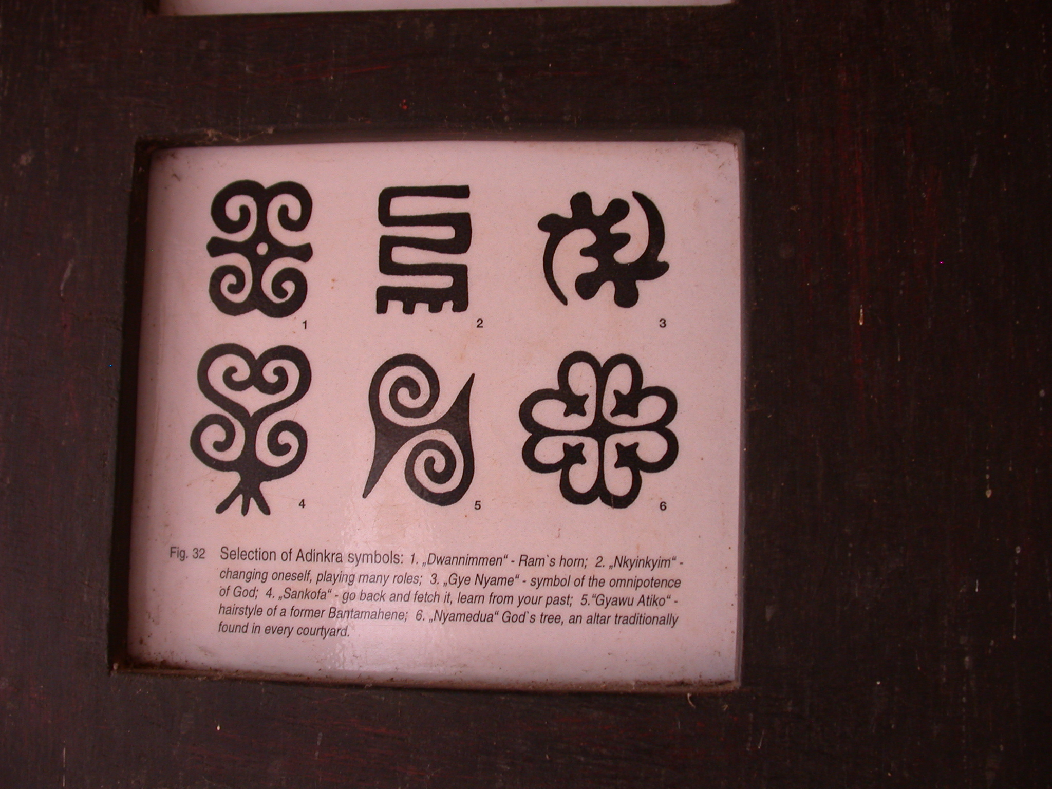 Selection of Adinkra Symbols of Dwannimmen Ram Horn, Nyinkyim Changing Oneself, Gye Nyame Omnipotence of God, Sankofa Learn From Your Past, Gyawu Atiko Bantamahene Hairstyle, and Nyamedua God Tree Courtyard Altar, Asante Traditional Shrine at Ejisu-Besease, Ghana