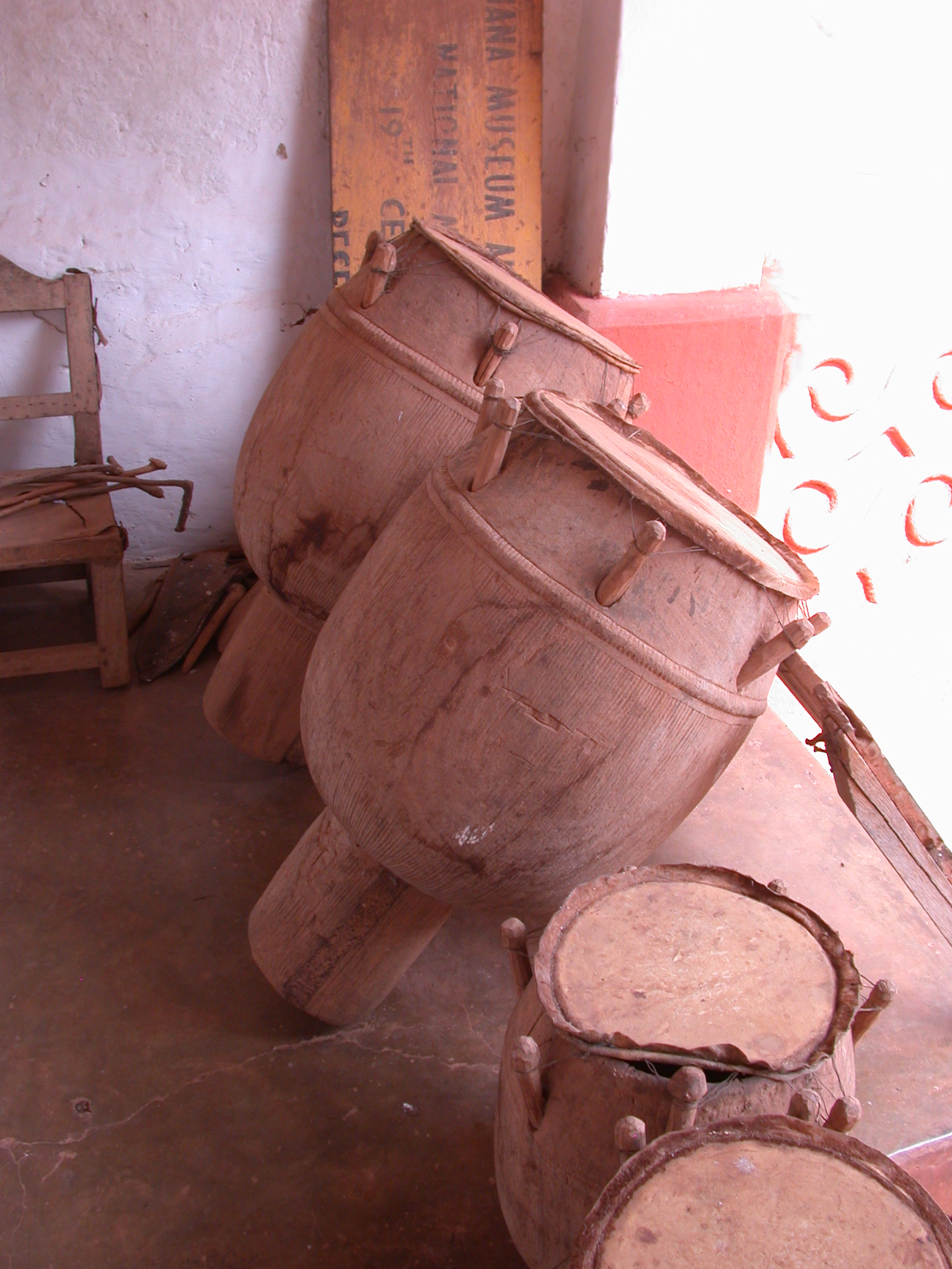Drums at Asante Traditional Shrine at Ejisu-Besease, Ghana