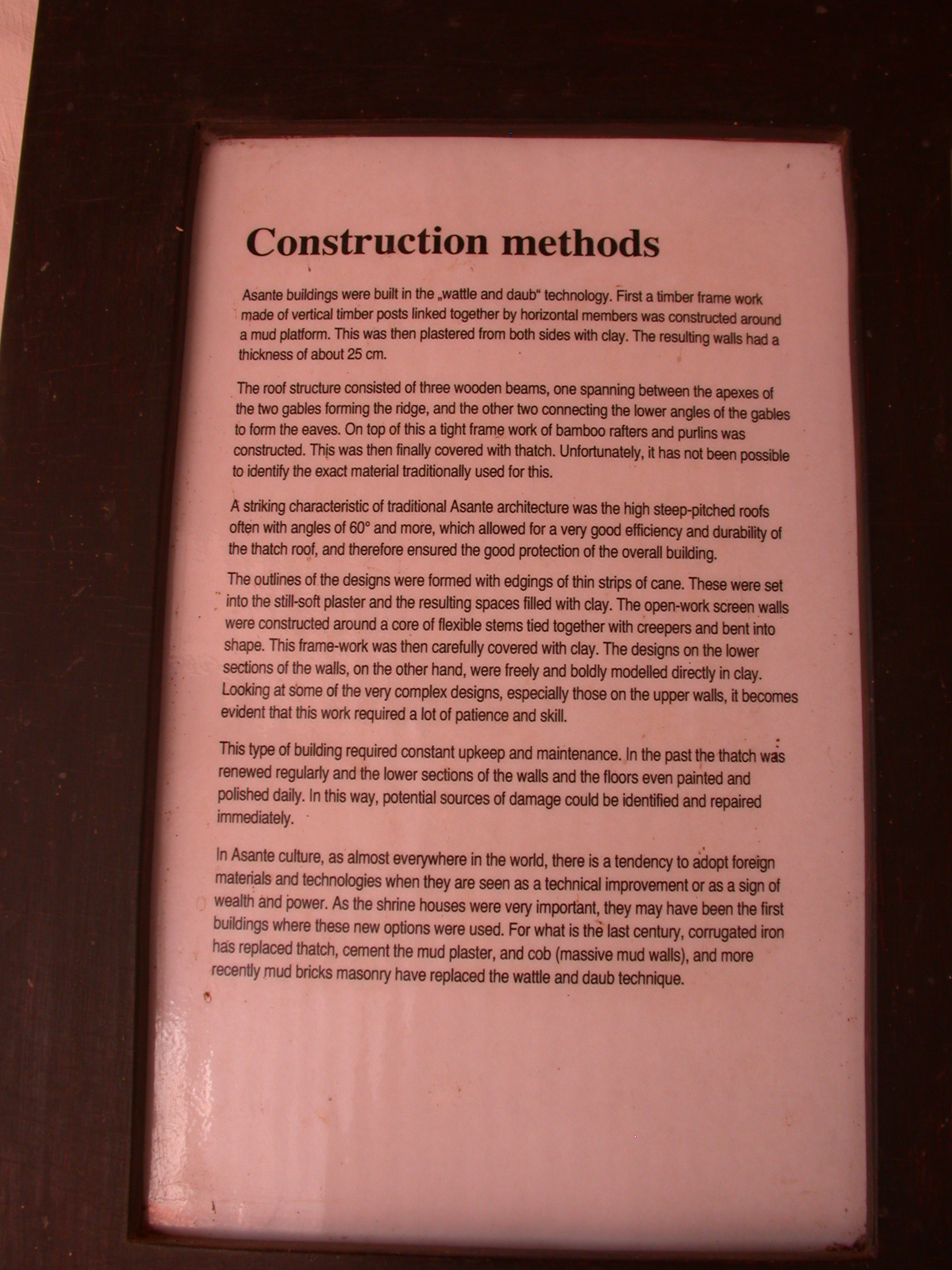 Construction Methods Description, Asante Traditional Shrine at Ejisu-Besease, Ghana