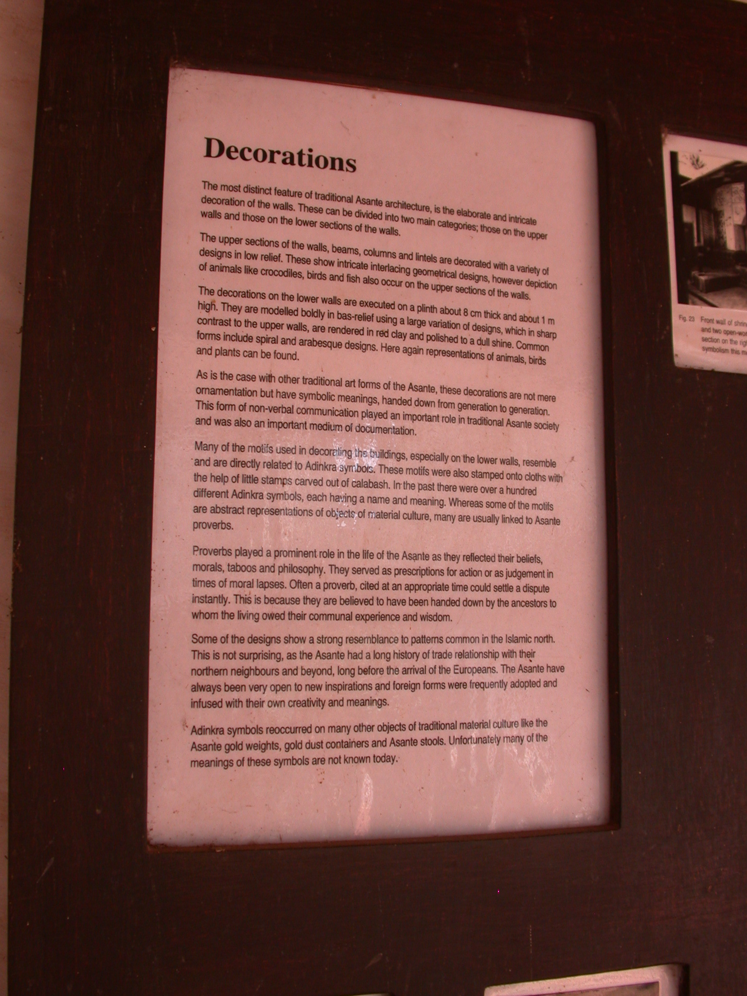Description of Decorations, Asante Traditional Shrine at Ejisu-Besease, Ghana