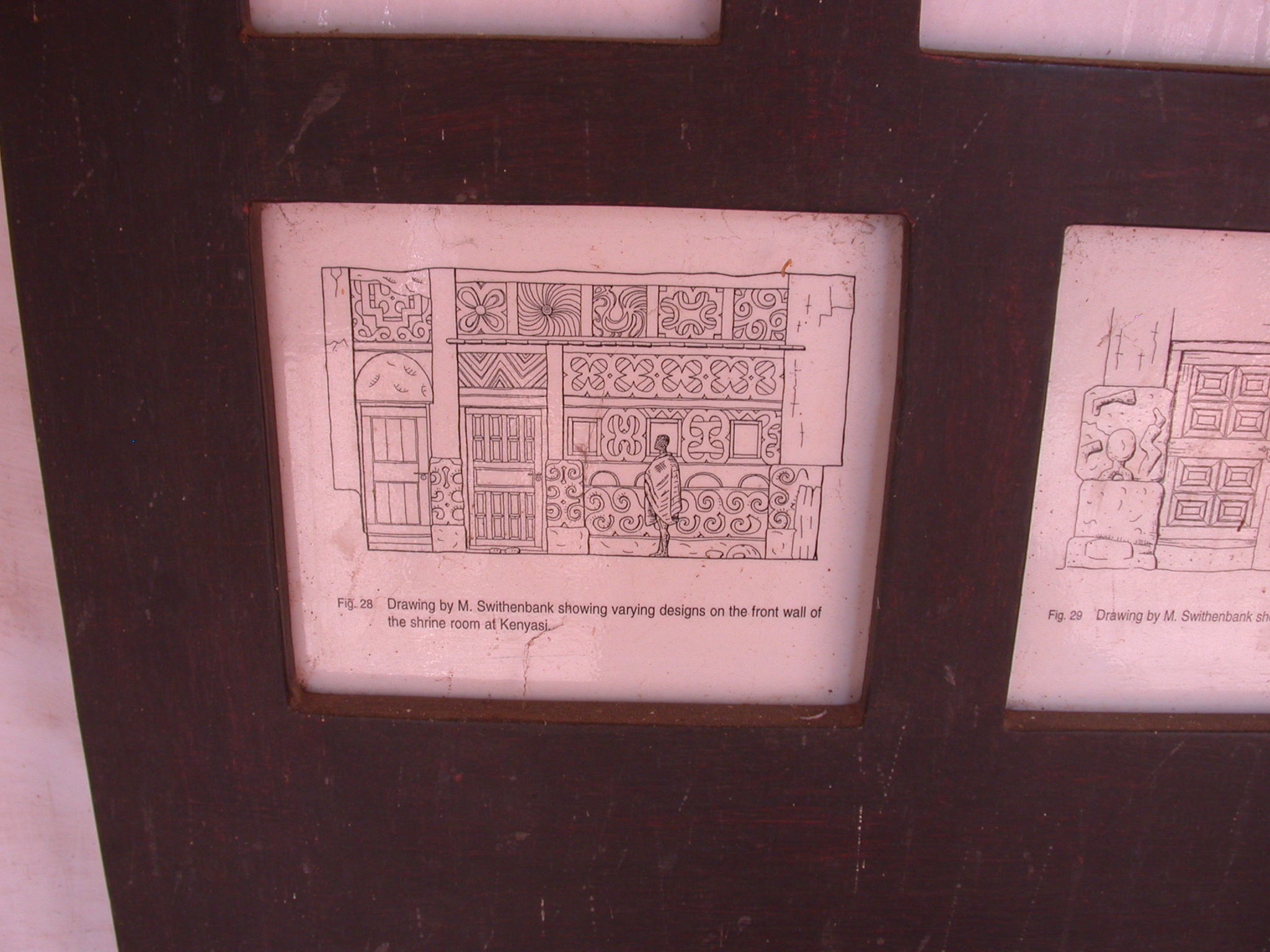 Drawing Showing Front Wall Designs at Kenyasi Shrine Room, Asante Traditional Shrine at Ejisu-Besease, Ghana