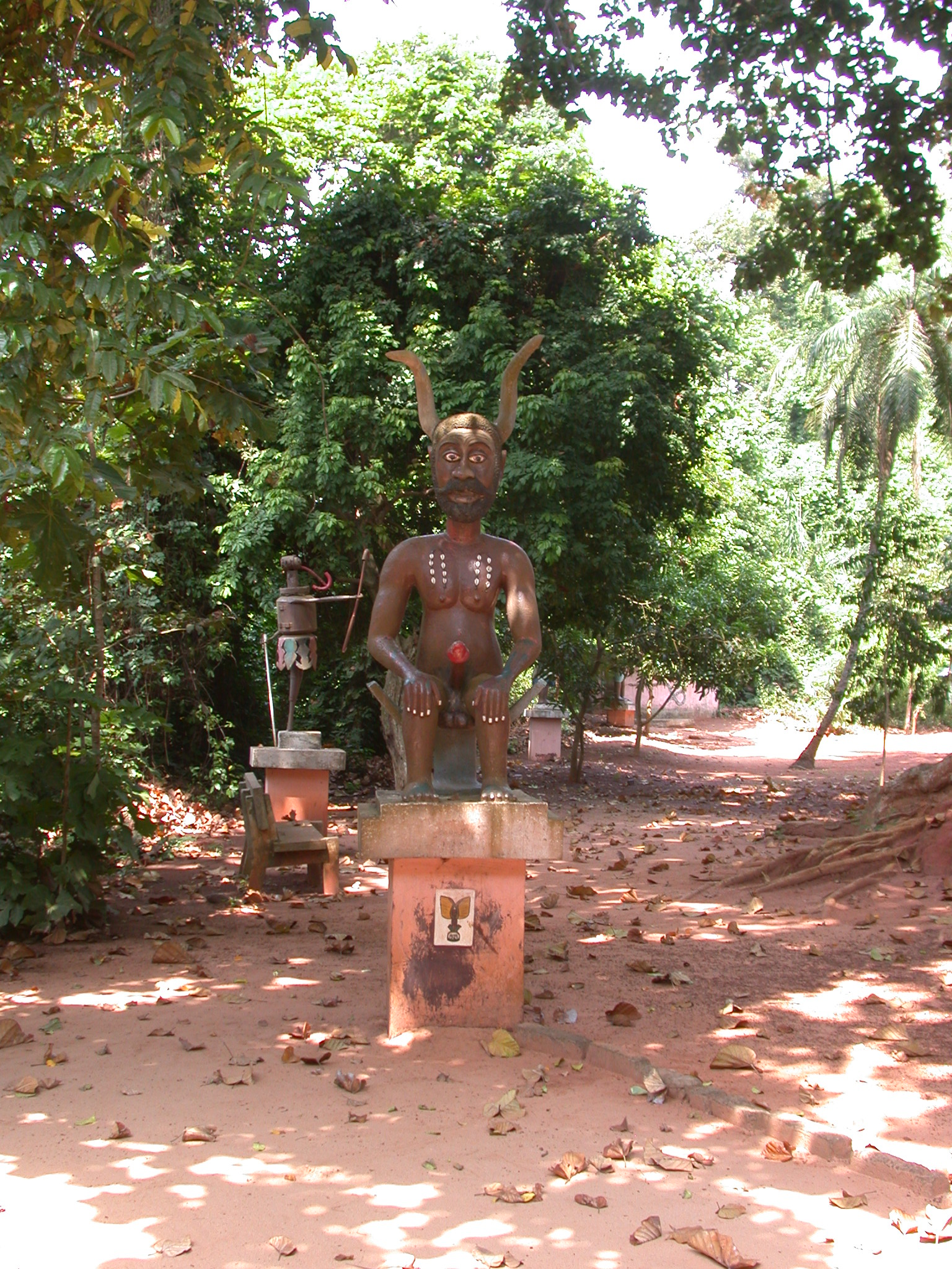 Horned and Phallic Legba Deity Sculpture, Kpasse Sacred Forest, Ouidah, Benin