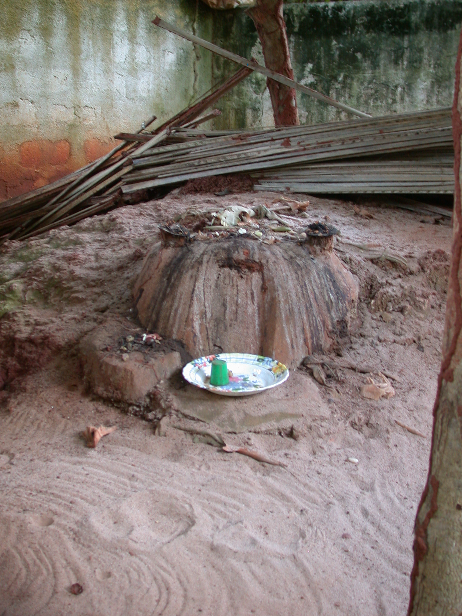 Mound Shrine at Python Enclosure, Kpasse Sacred Forest, Ouidah, Benin