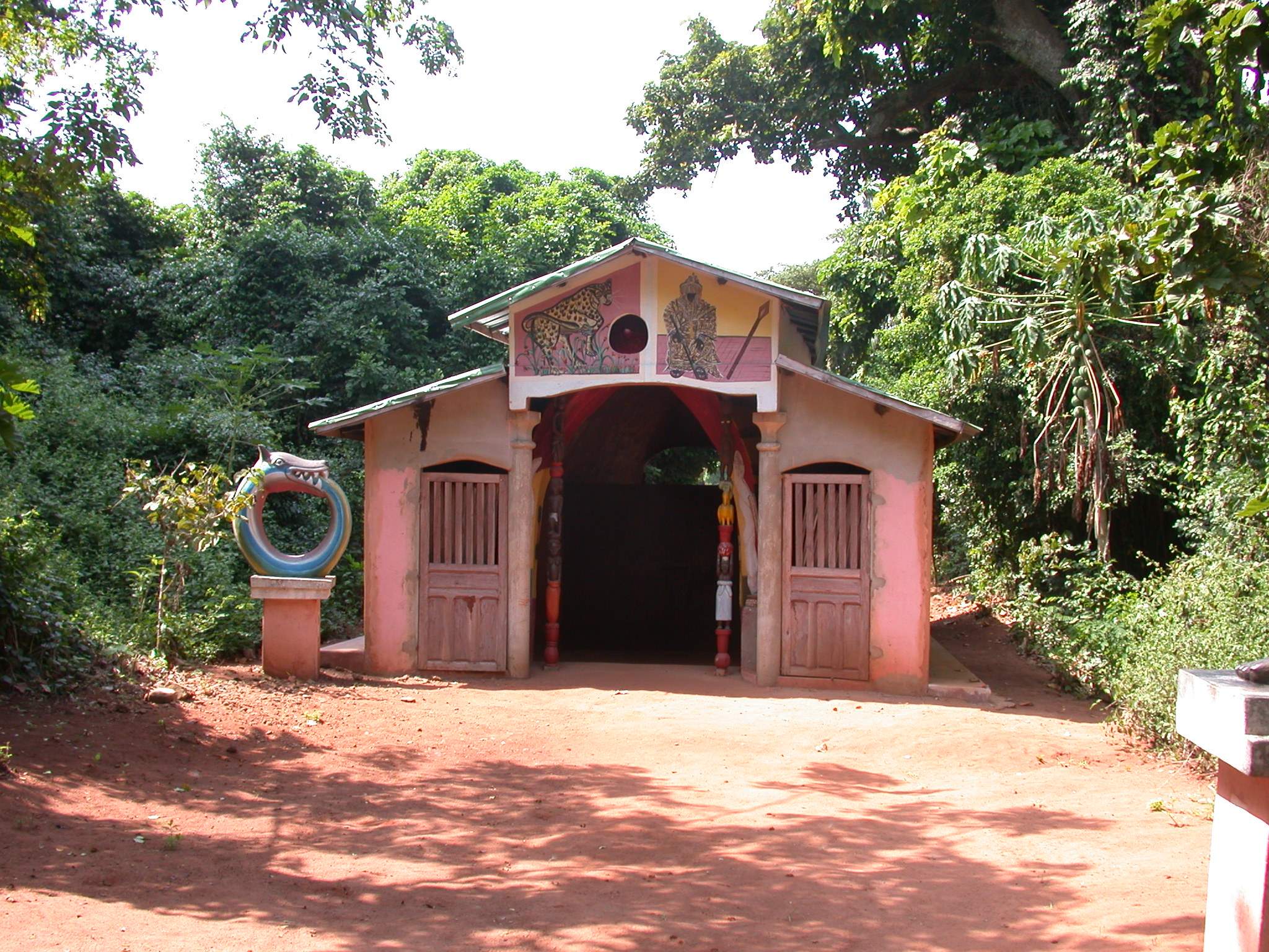 Shrine House With Dan Rainbow Serpent Sculpture on Left, Kpasse Sacred Forest, Ouidah, Benin