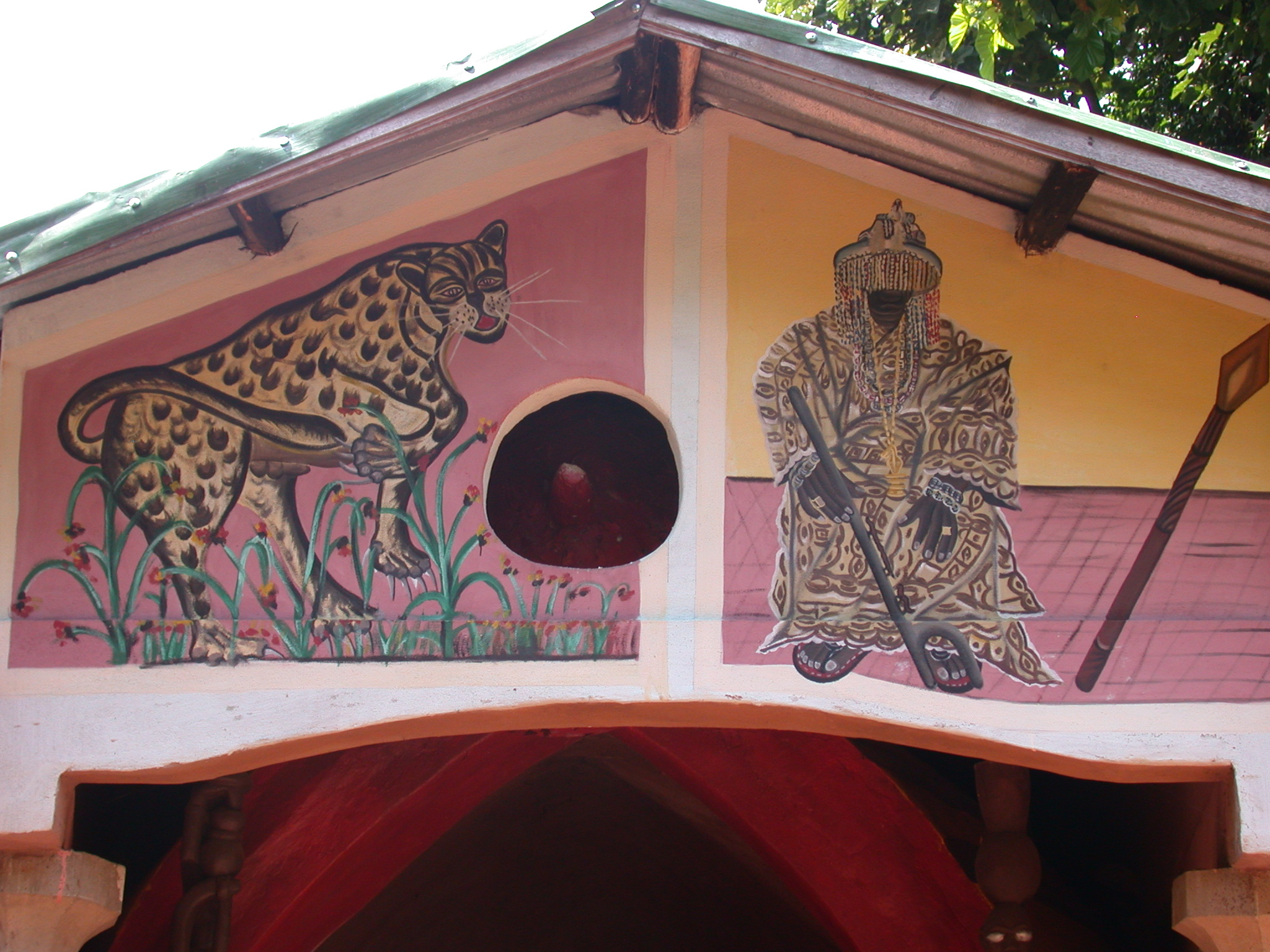 Detail of Front Wall of Shrine House, Kpasse Sacred Forest, Ouidah, Benin