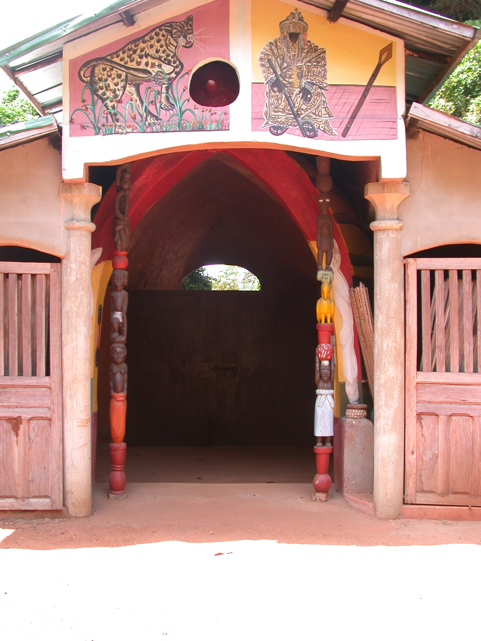 Doorway of Shrine House, Kpasse Sacred Forest, Ouidah, Benin