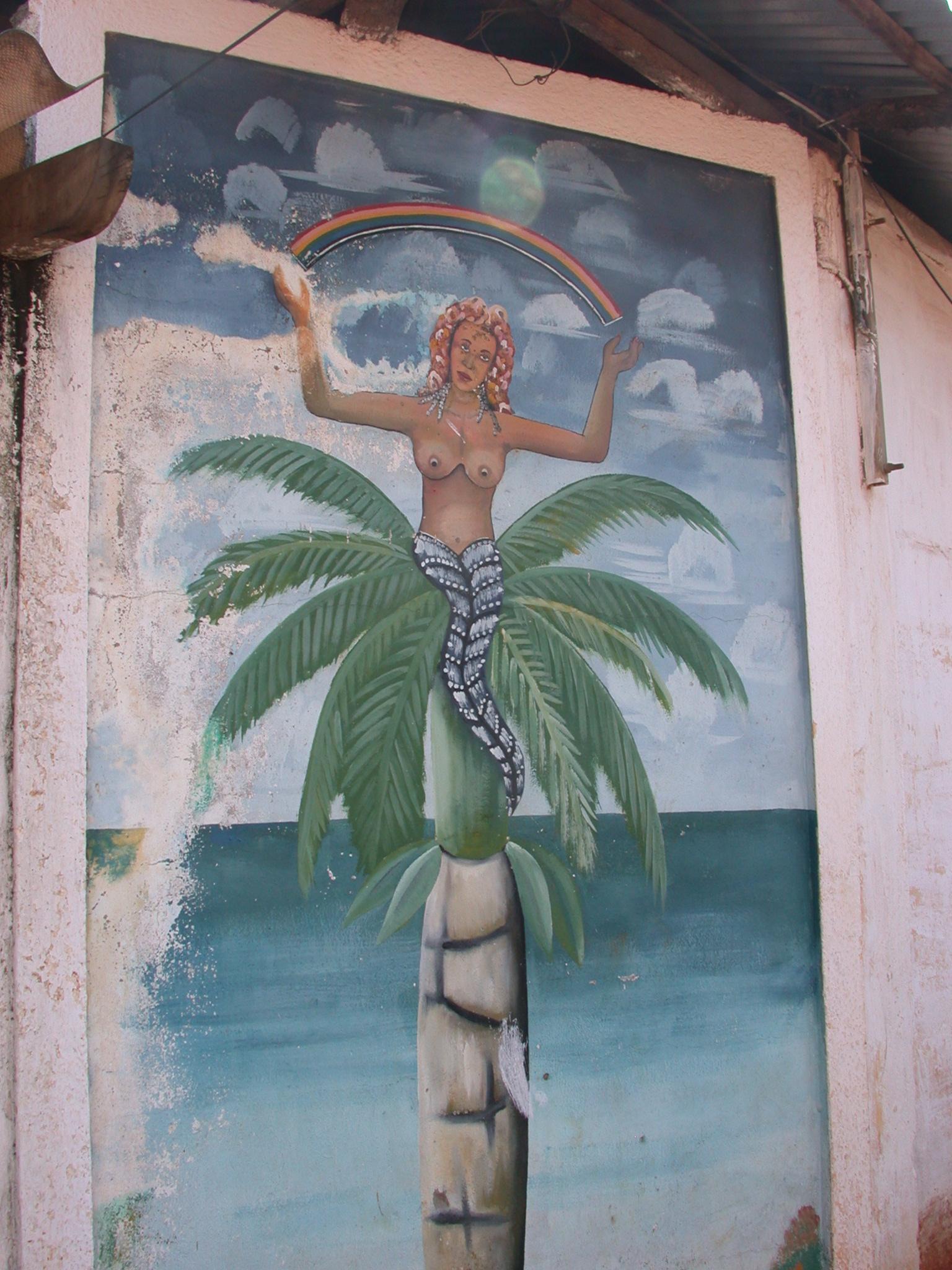 Avlekete Vodun Mermaid Spirit Mural, Daagbo Hounon Dodo Palace, Ouidah, Benin