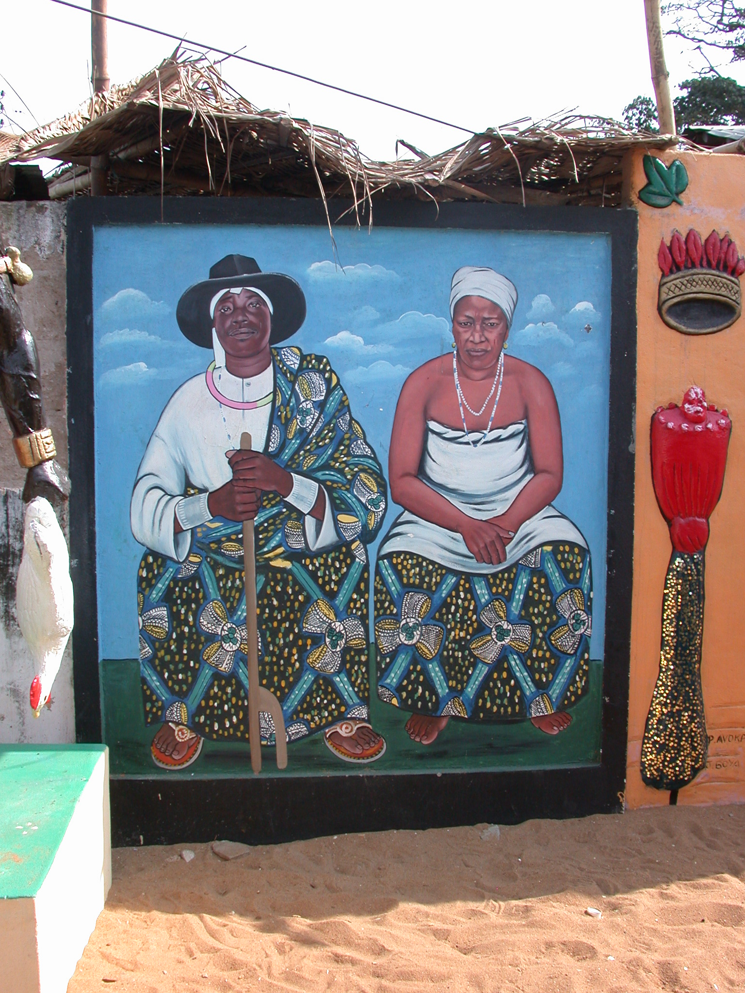 Painting of Daagbo Hounon and His Late Wife, Daagbo Hounon Dodo Palace, Ouidah, Benin