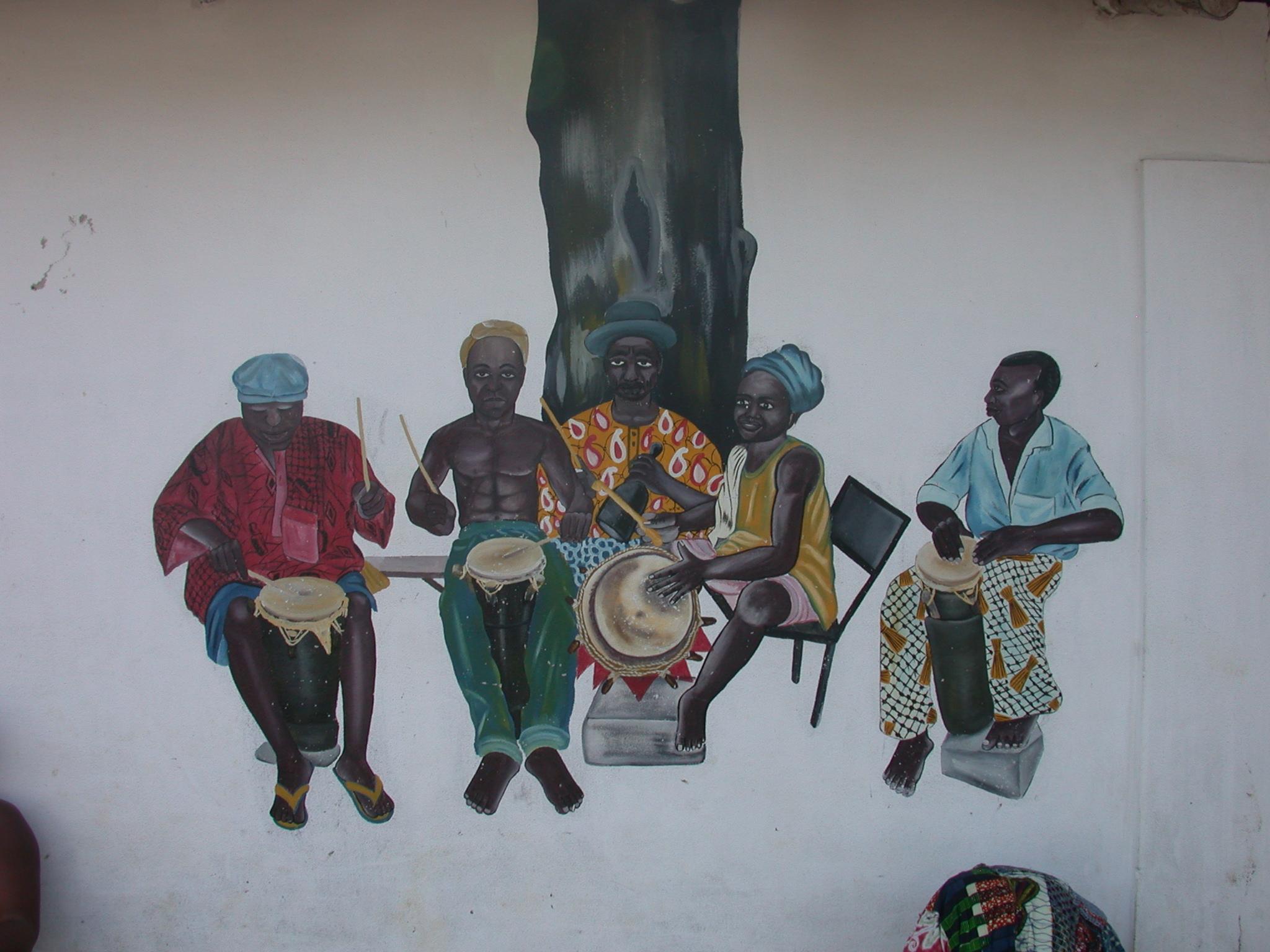 Mural of Musicians, Daagbo Hounon Dodo Palace, Ouidah, Benin