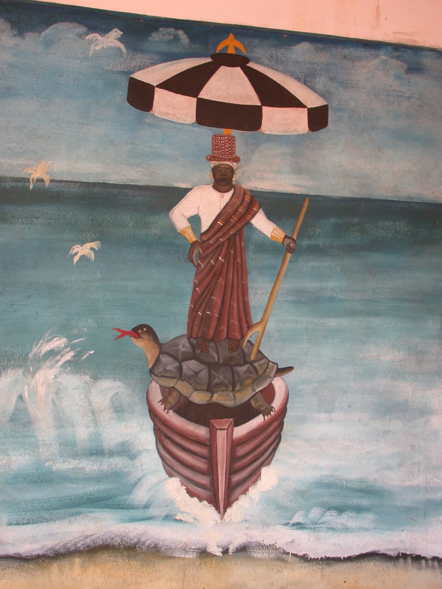Mural Depicting Daagbo Hounon Walking on Water With Help of Sacred Turtle, Daagbo Hounon Dodo Palace, Ouidah, Benin