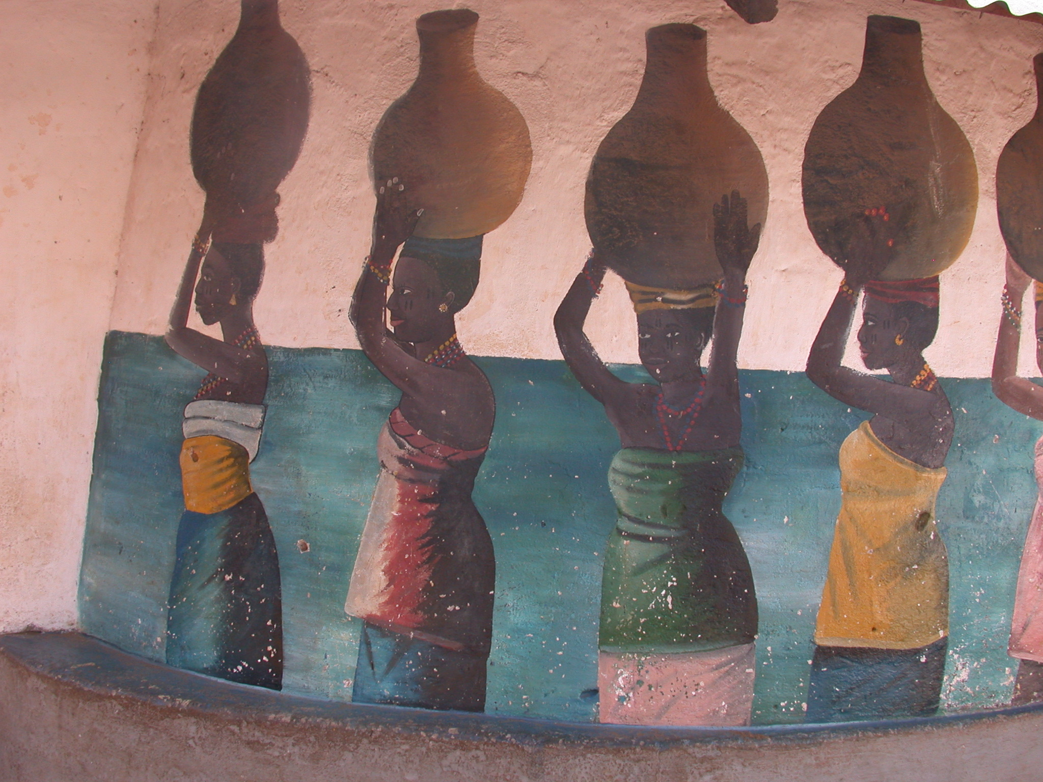 Mural of Women Carrying Jars on Their Heads, Daagbo Hounon Dodo Palace, Ouidah, Benin