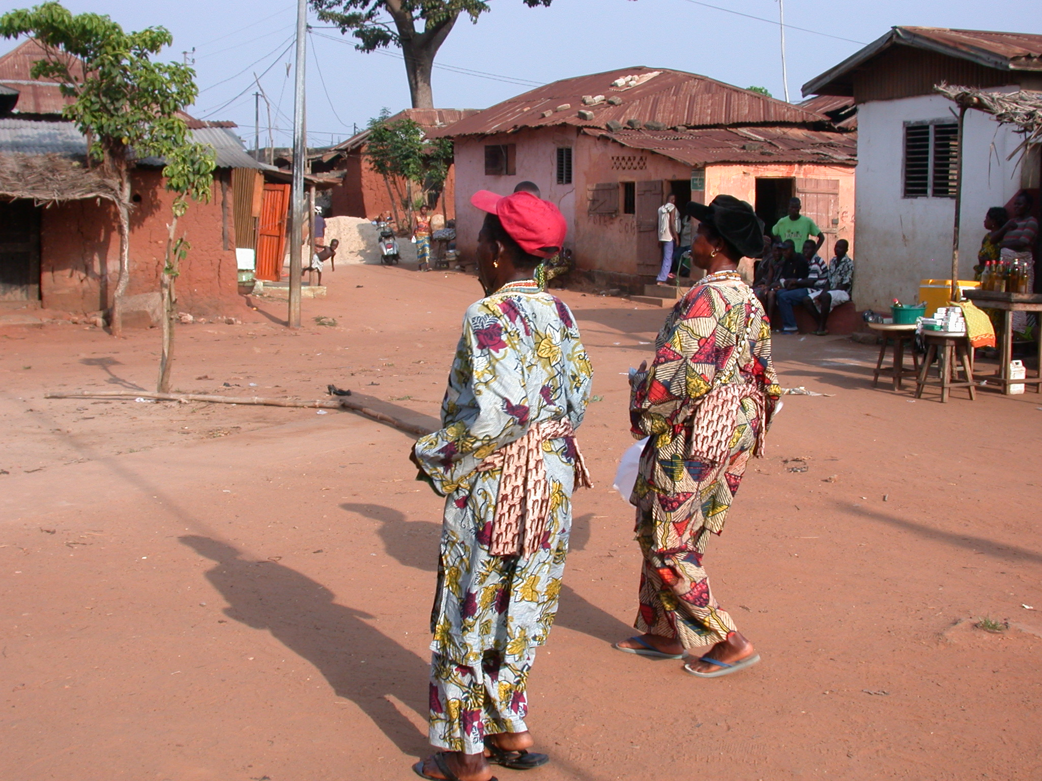 Women Blowing Whistles to Begin Vodun Ritual, Ouidah, Benin