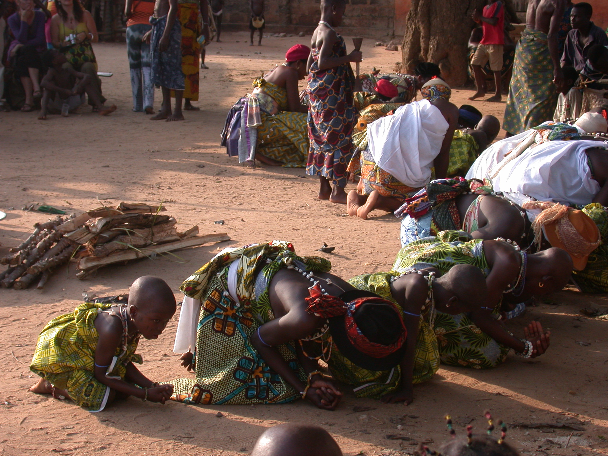 Initiates Bow to Community, Vodun Ritual, Ouidah, Benin