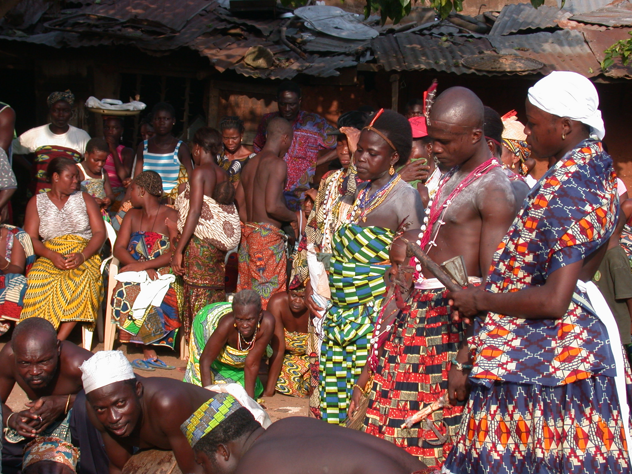Participants Watch Sacrifice Preparations, Vodun Ritual, Ouidah, Benin