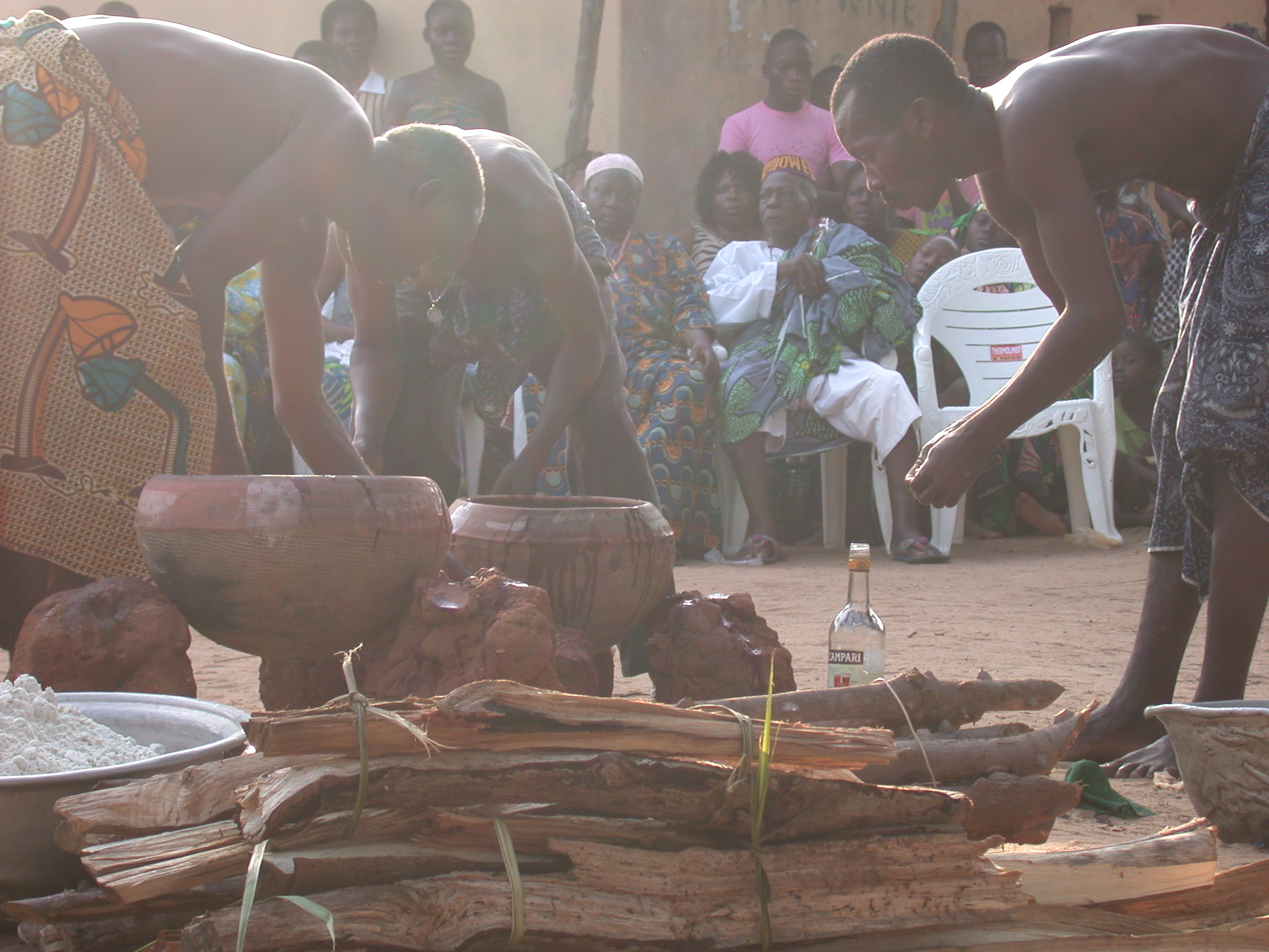 Preparing Sacrificial Goat Meat for Cooking, Vodun Ritual, Ouidah, Benin