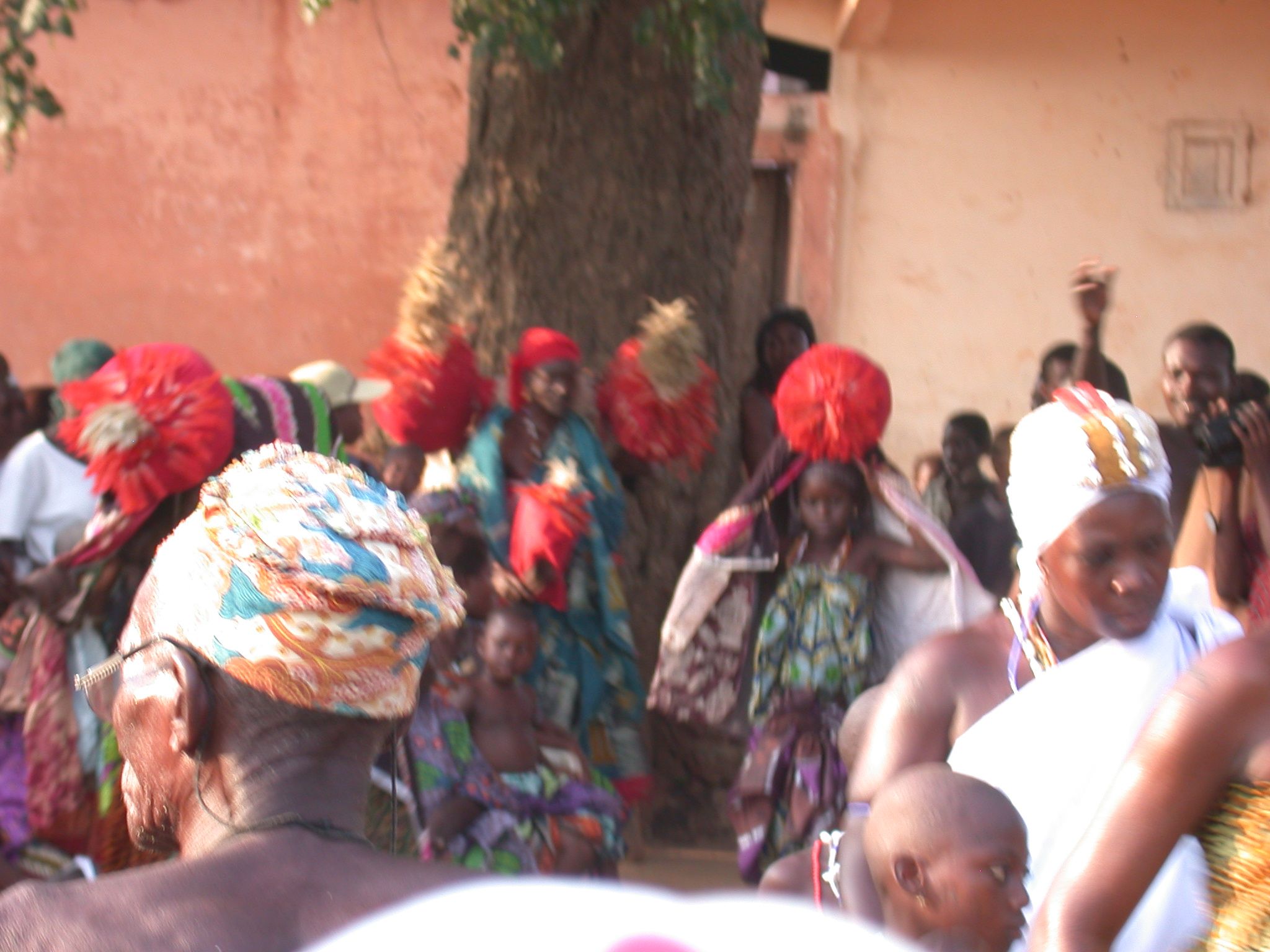 Dancing With Red Pompom-Like Decorations, Vodun Ritual, Ouidah, Benin