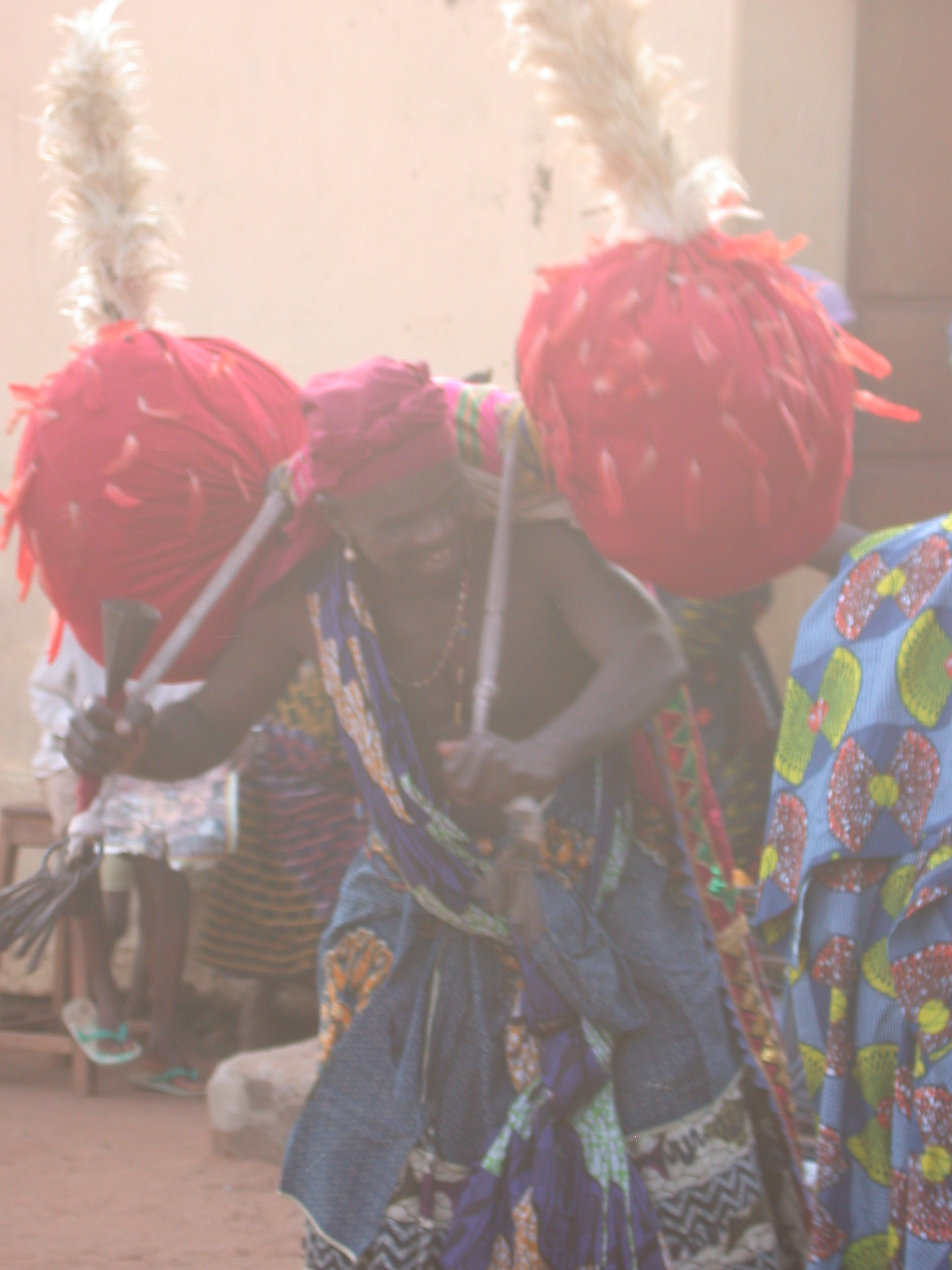 Dancer With Red Pompom-Like Decorations, Vodun Ritual, Ouidah, Benin