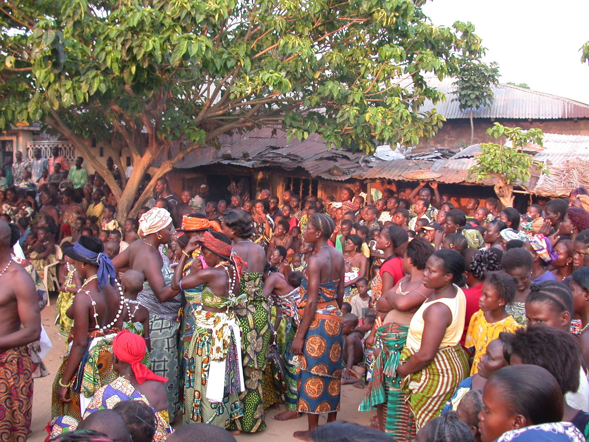 Crowd Observing Vodun Ritual, Ouidah, Benin