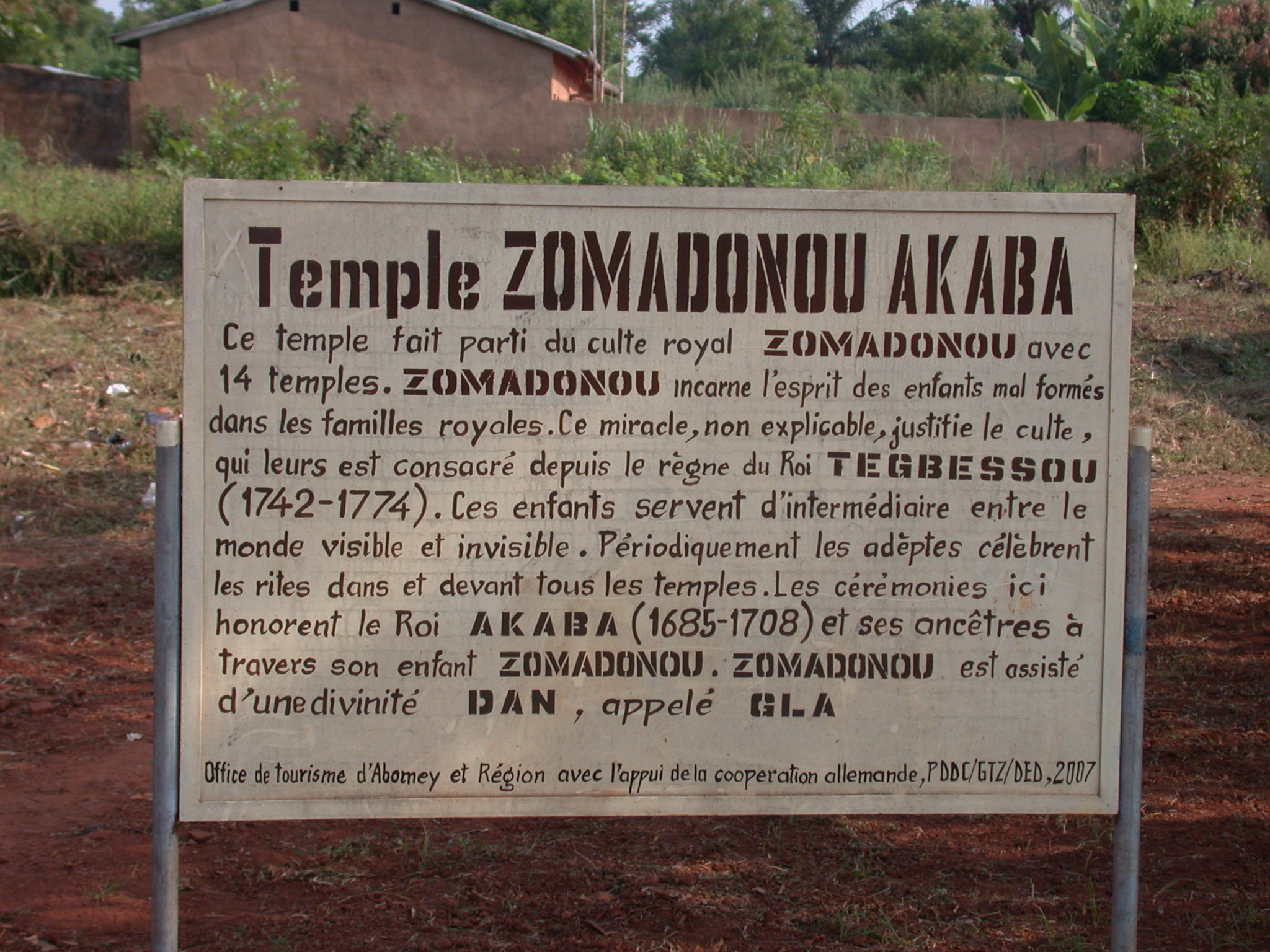 Sign for Zomadonou Akaba Temple, Abomey, Benin