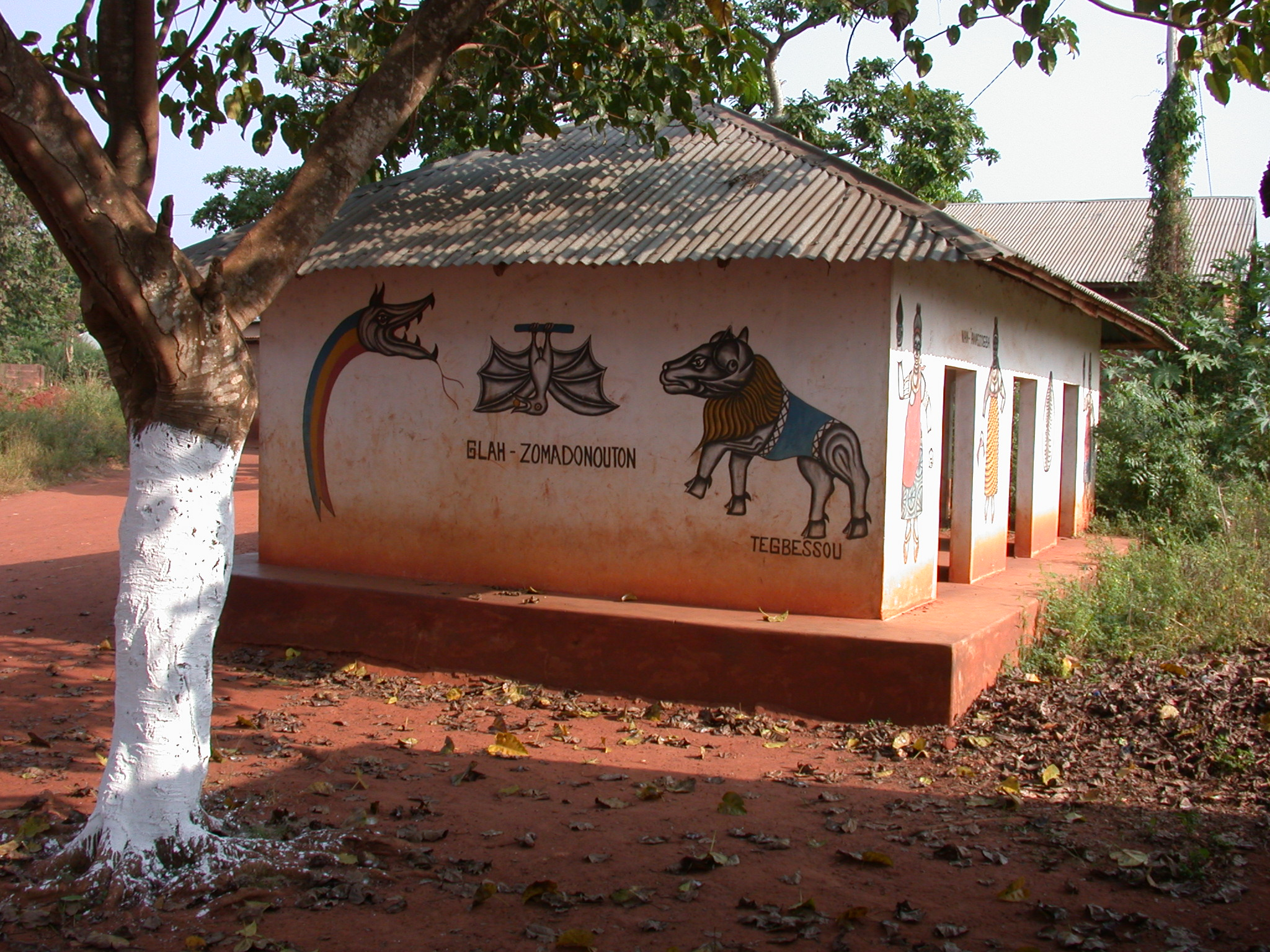 Left Side of Zomadonou Akaba Temple With Symbols of  Glah-Zomadonouton and Tegbessou, Abomey, Benin